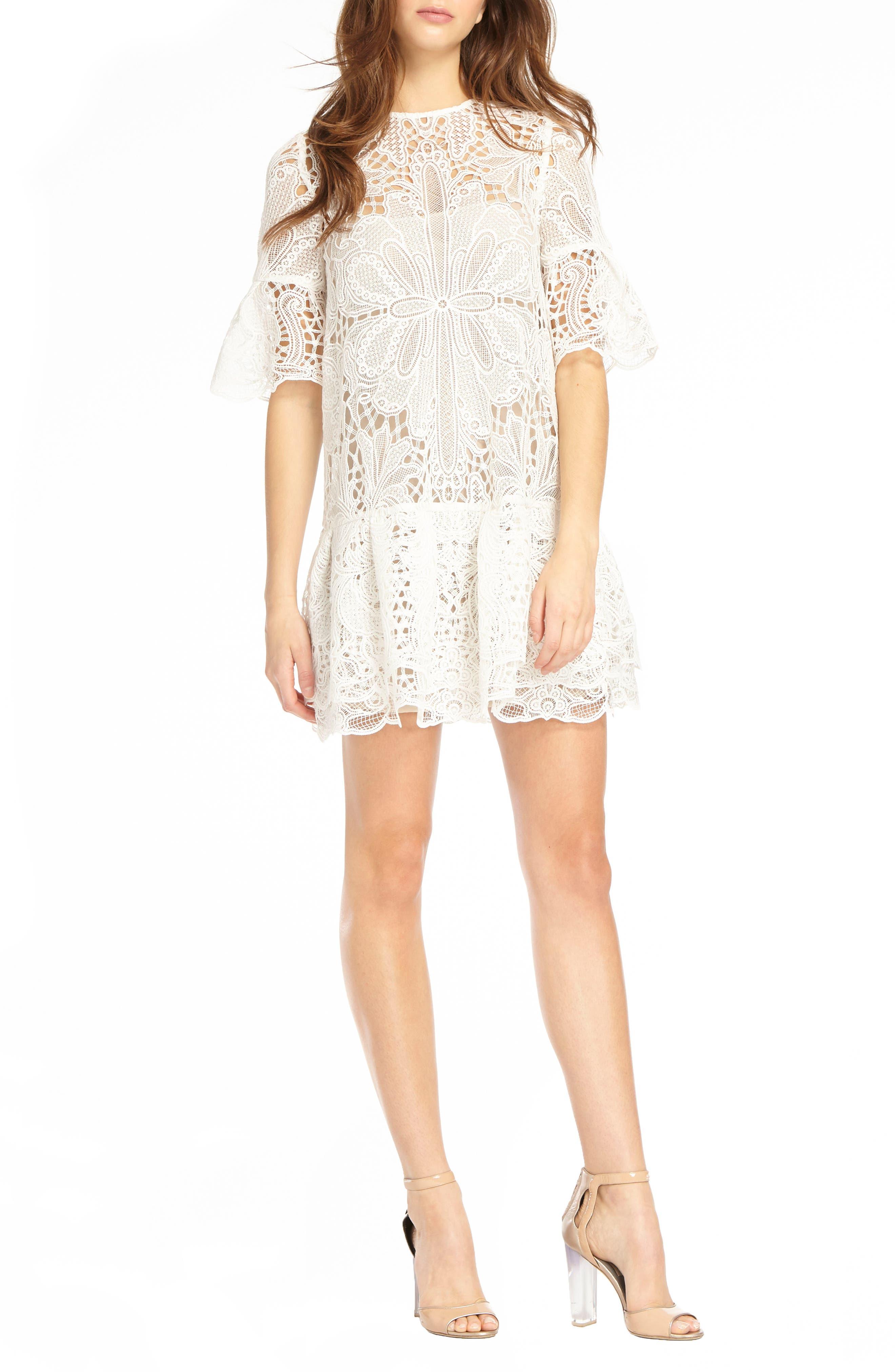 Lace & Ruffle Shift Dress,                         Main,                         color, White