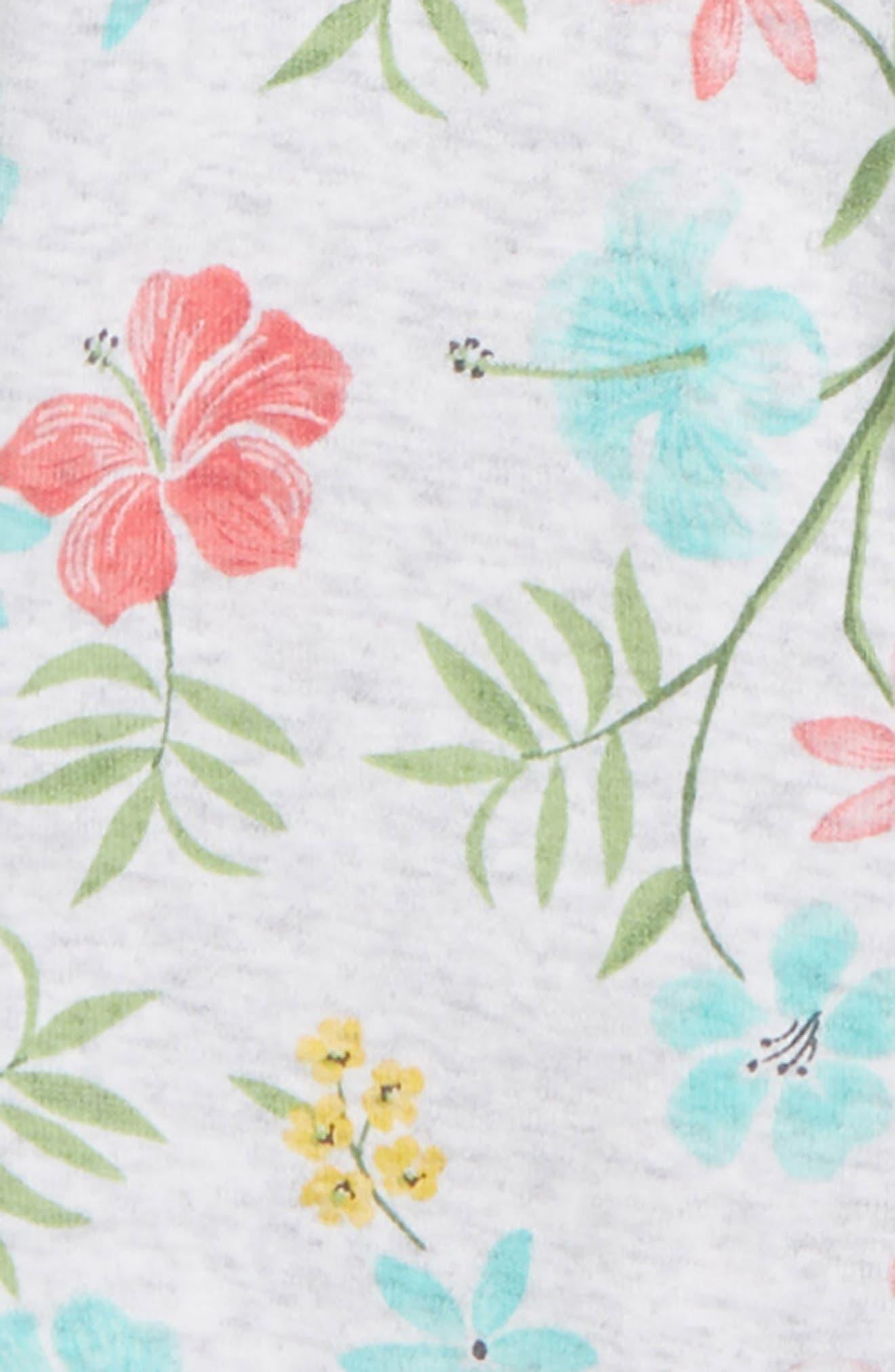Tropical Floral Footie & Hat Set,                             Alternate thumbnail 2, color,                             Floral
