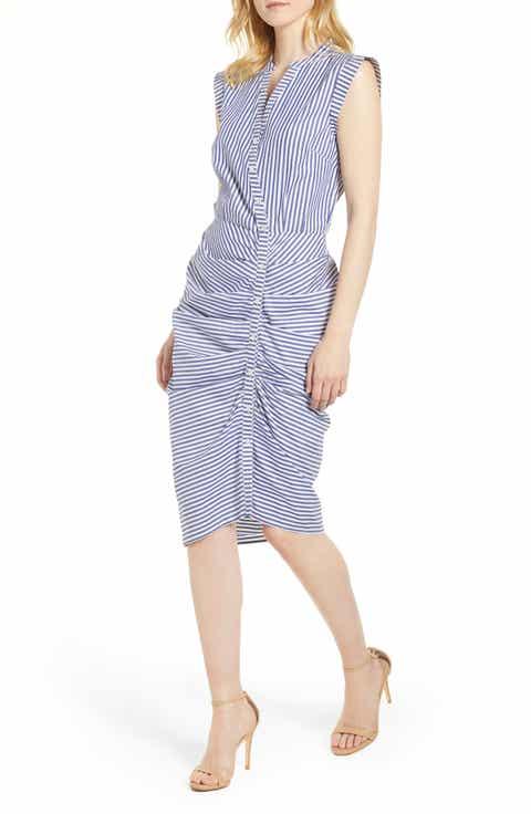 Chelsea28 Stripe Ruched Cotton Shirtdress (Regular & Petite)