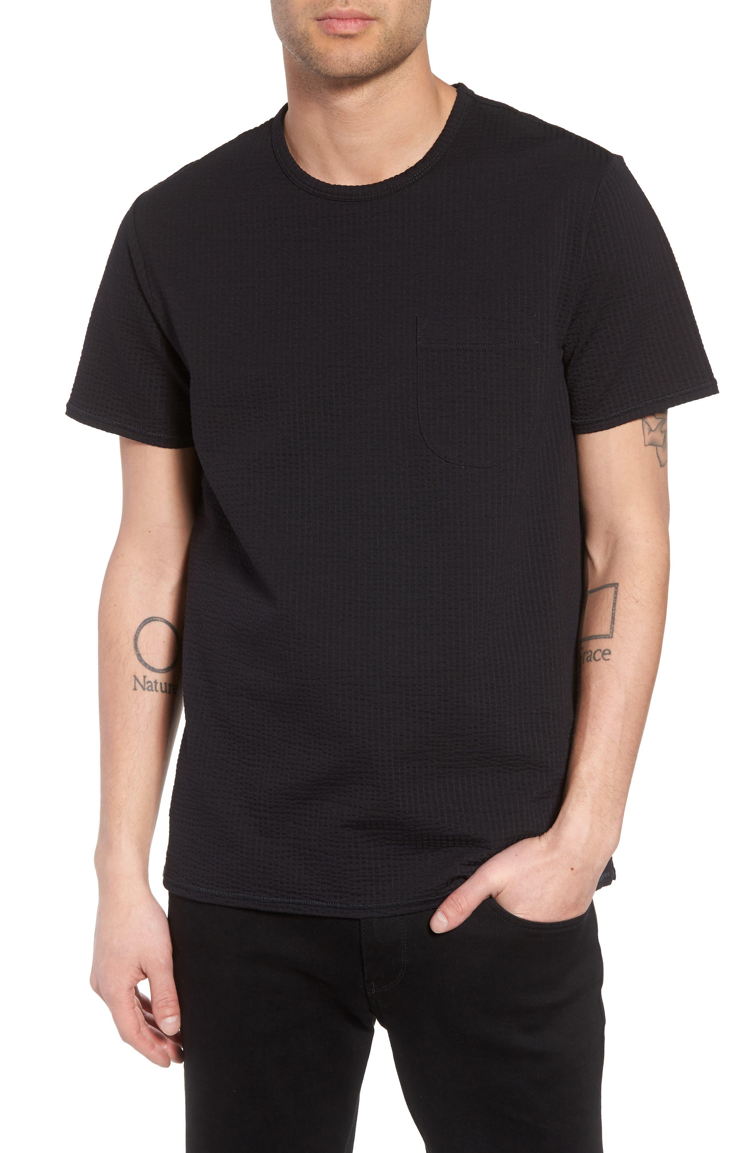 Japanese Seersucker T-Shirt,                             Main thumbnail 1, color,                             Black Seersucker