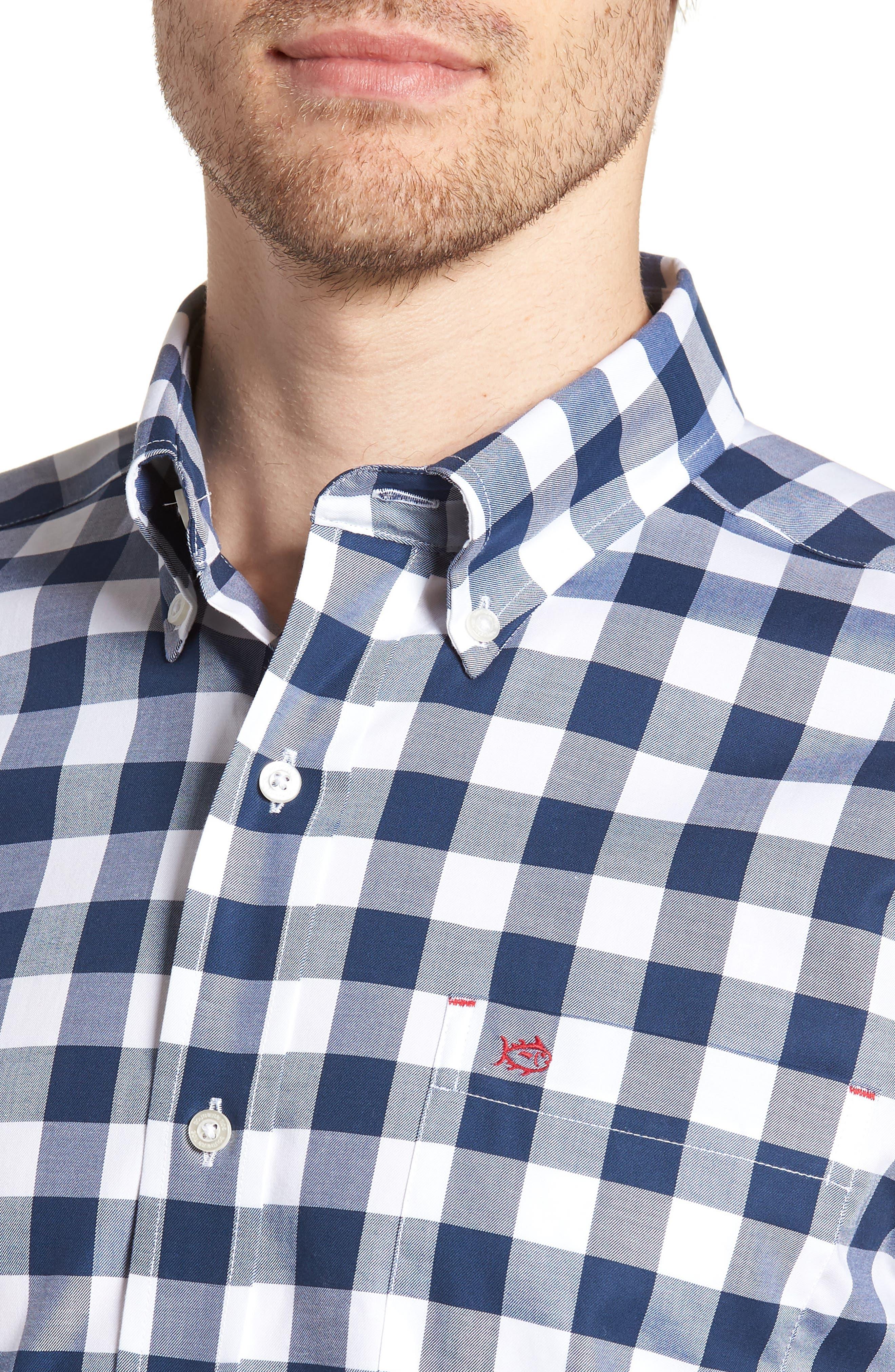 Regular Fit Buffalo Check Sport Shirt,                             Alternate thumbnail 2, color,                             Yacht Blue