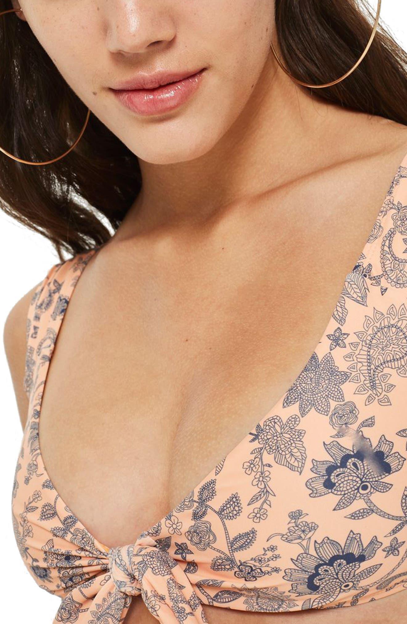 Paisley Tie Front Crop Bikini Top,                             Alternate thumbnail 4, color,                             Coral Multi