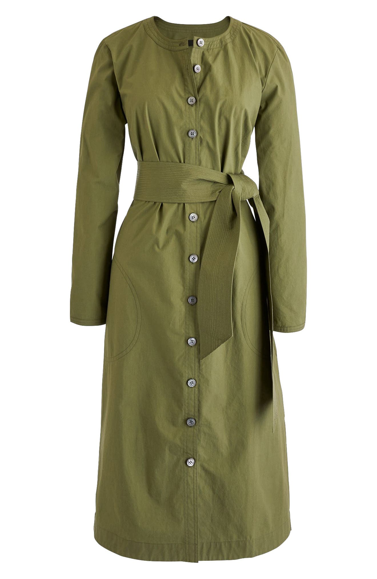 Collarless Cotton Shirtdress,                             Alternate thumbnail 3, color,                             Faded Grove