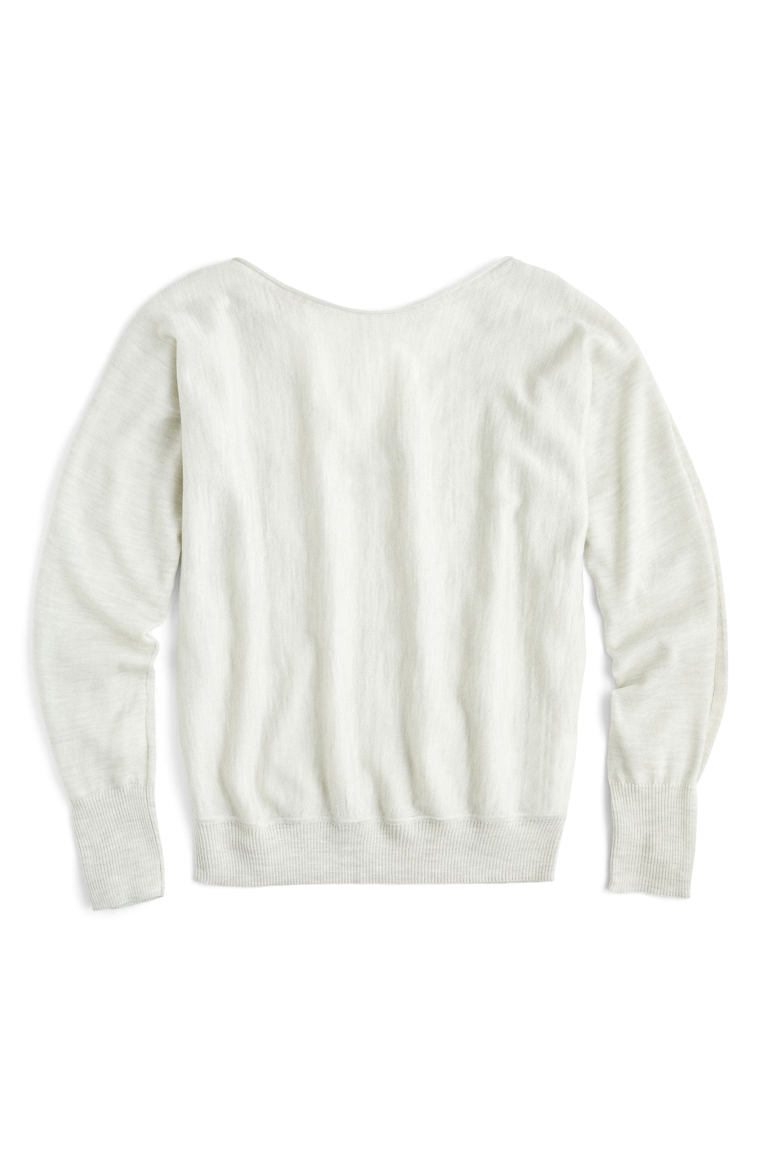 Dolman Merino Wool V-Back Sweater,                             Main thumbnail 1, color,                             Heather Ash