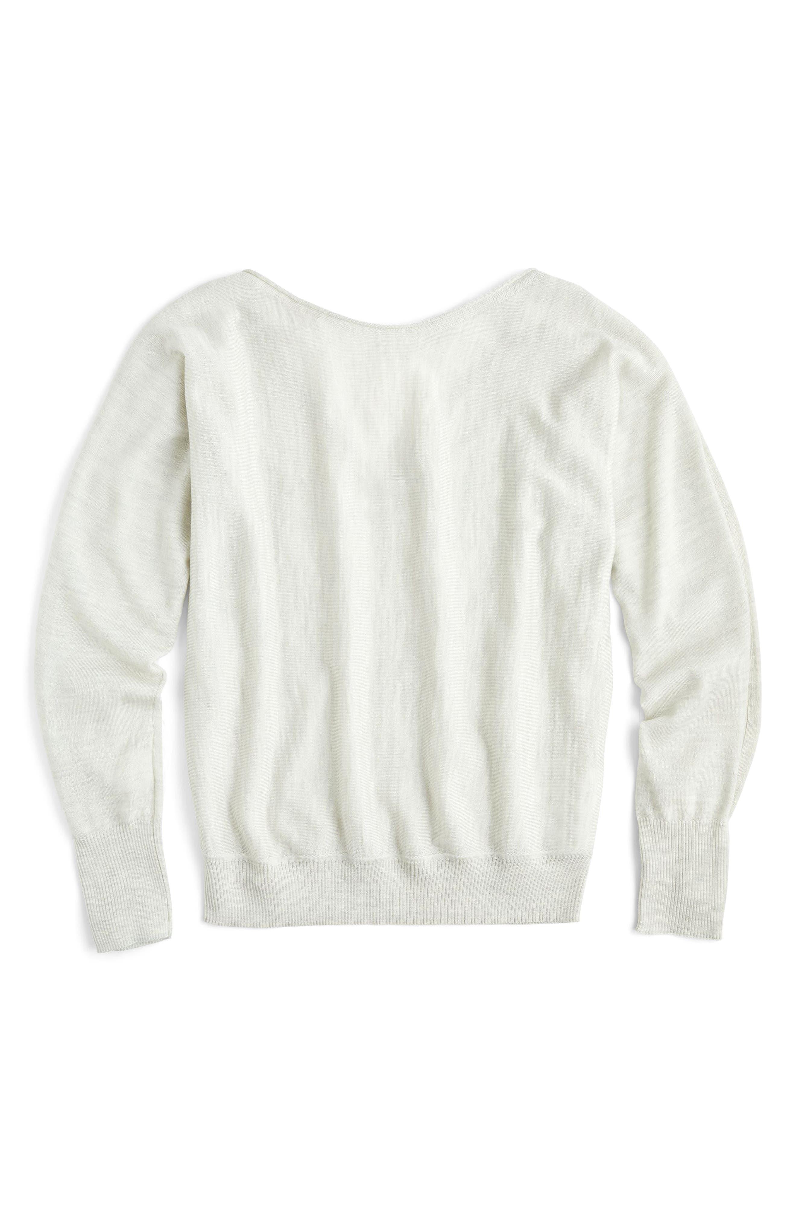 J.Crew Dolman Merino Wool V-Back Sweater,                         Main,                         color, Heather Ash