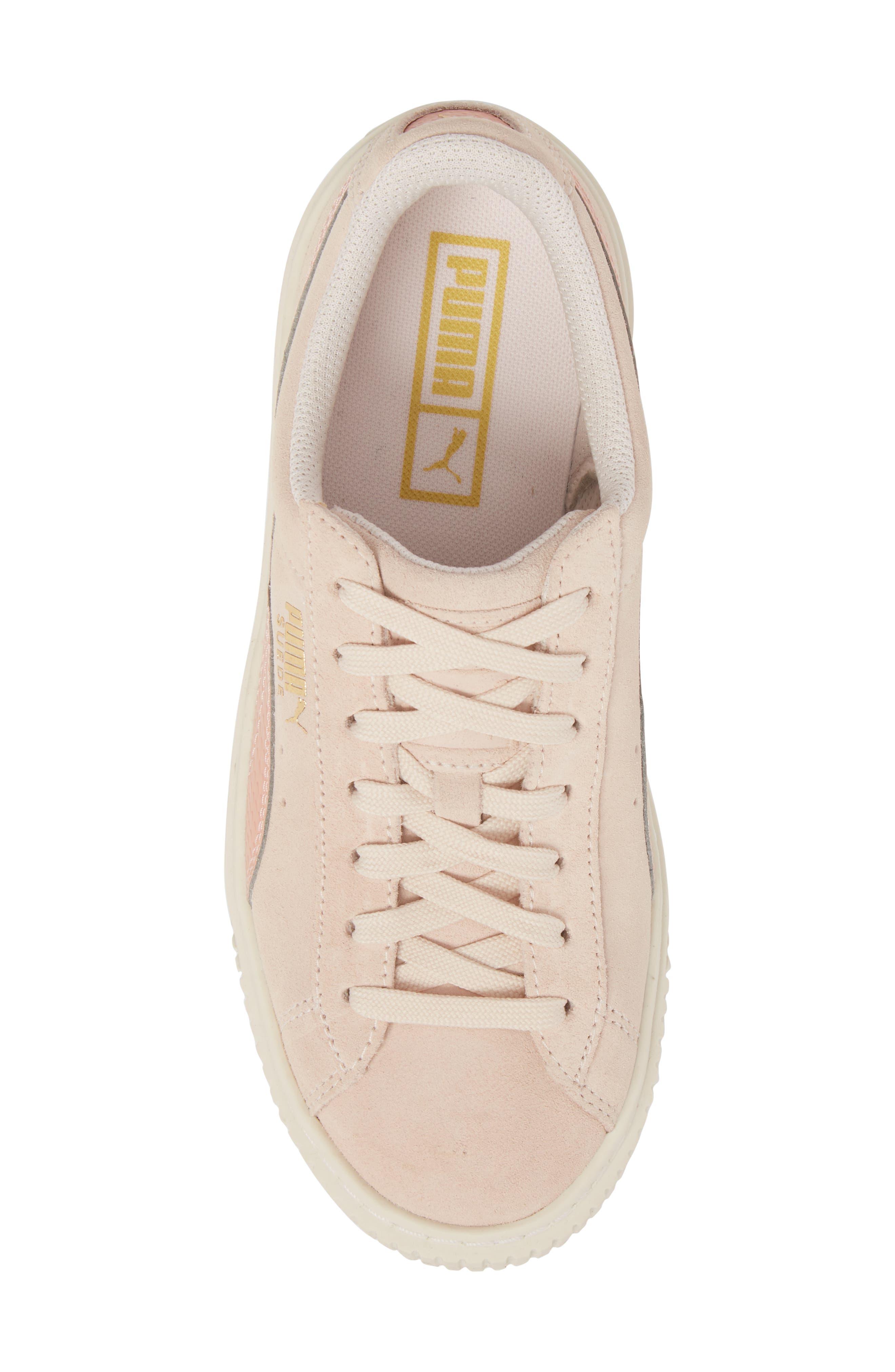 Suede Platform Jr Sneaker,                             Alternate thumbnail 5, color,                             Pearl/ Peach Beige