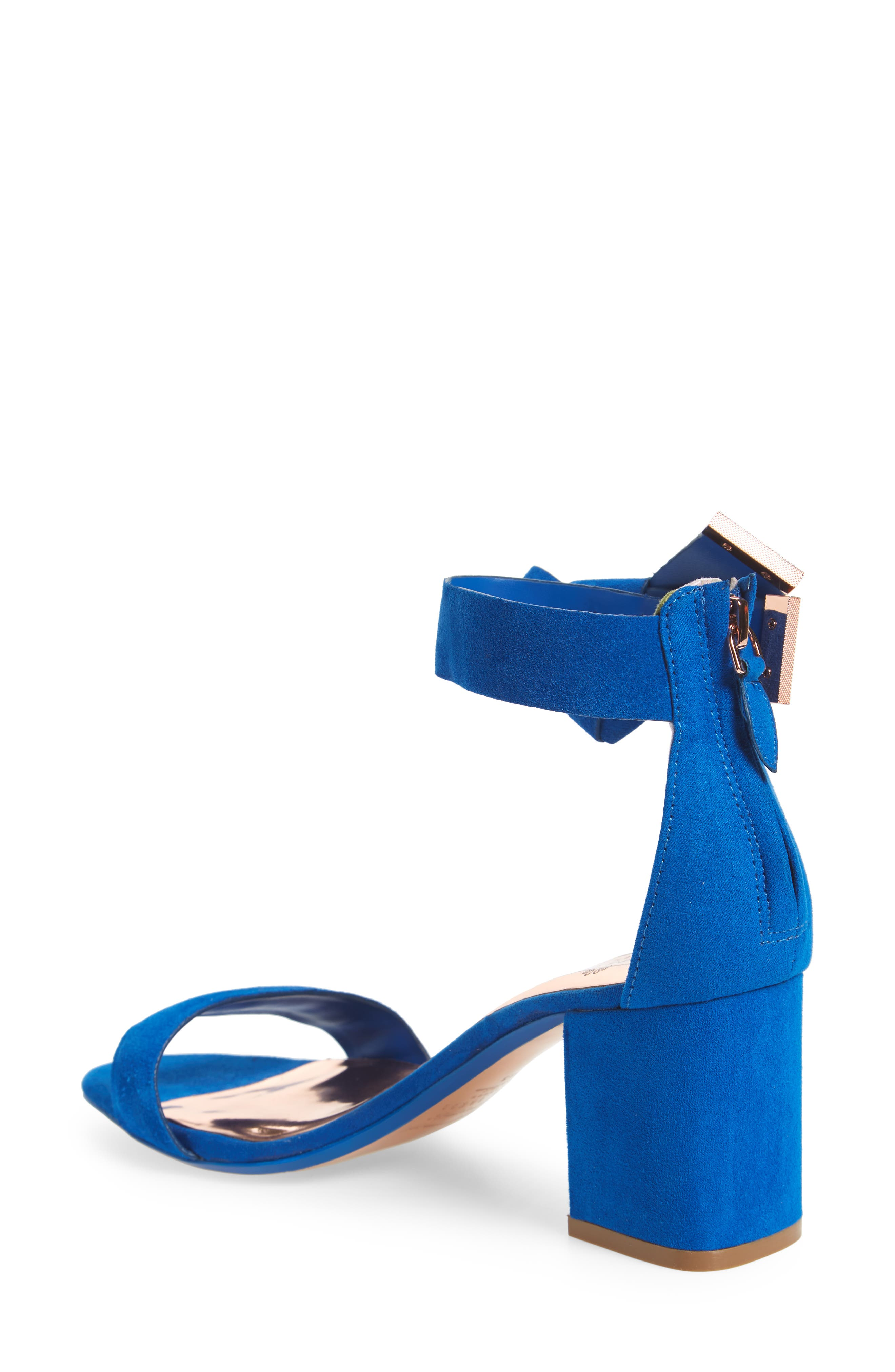 Kerrias Block Heel Sandal,                             Alternate thumbnail 2, color,                             Blue Suede