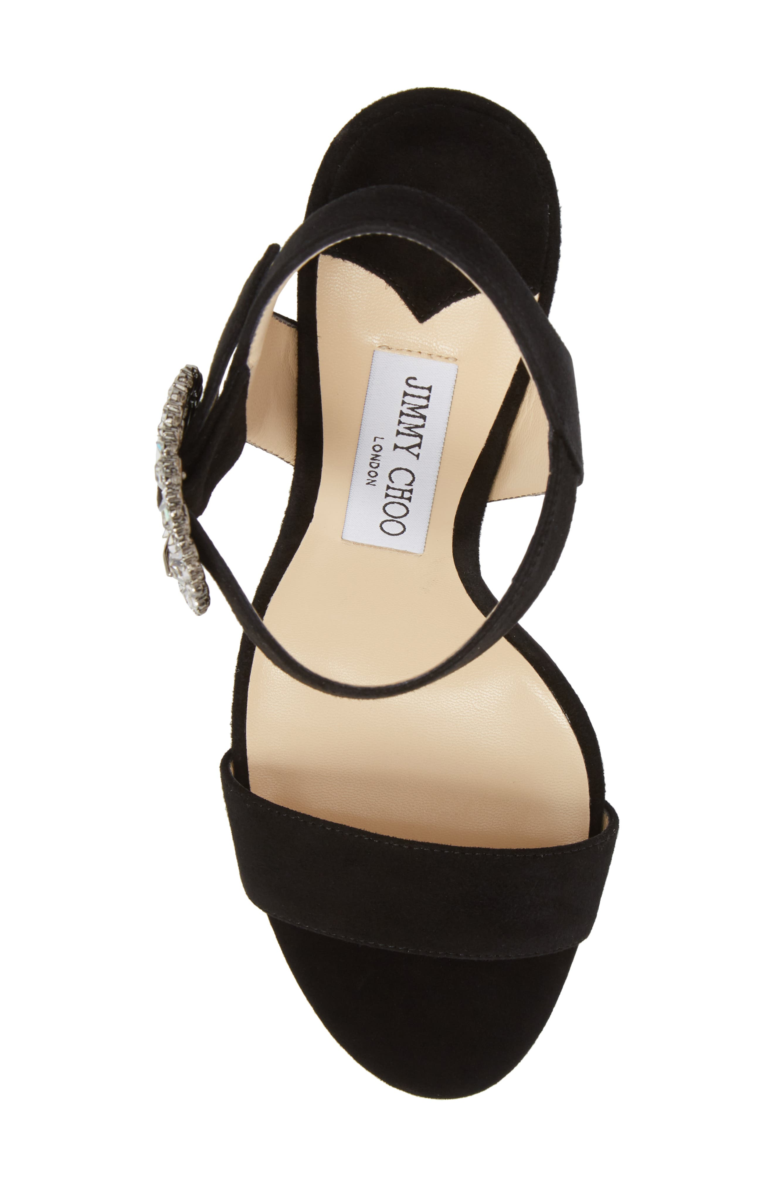 Mischa Crystal Buckle Sandal,                             Alternate thumbnail 5, color,                             Black