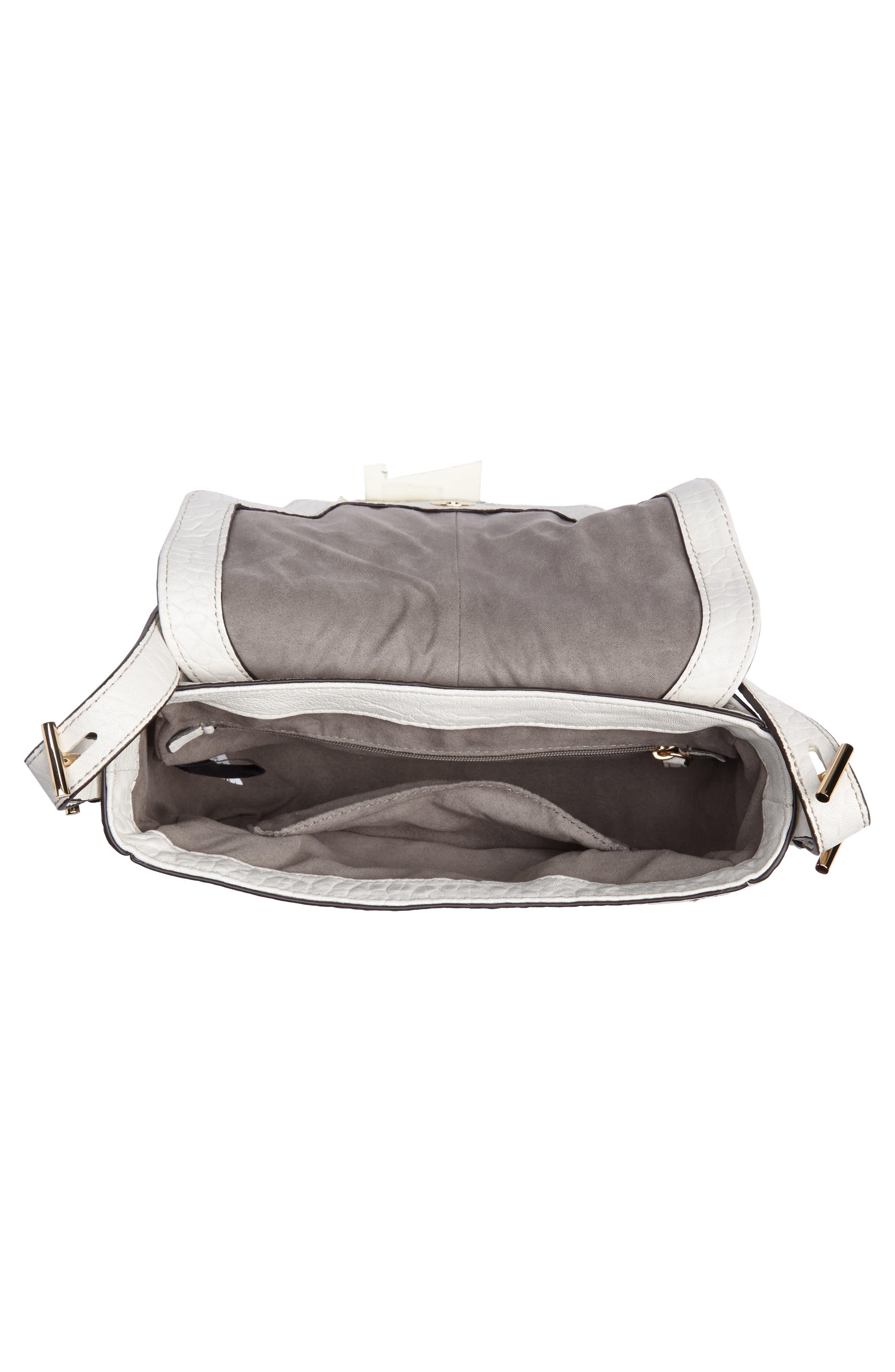 Fava Leather Crossbody Bag,                             Alternate thumbnail 4, color,                             Vaporous Grey
