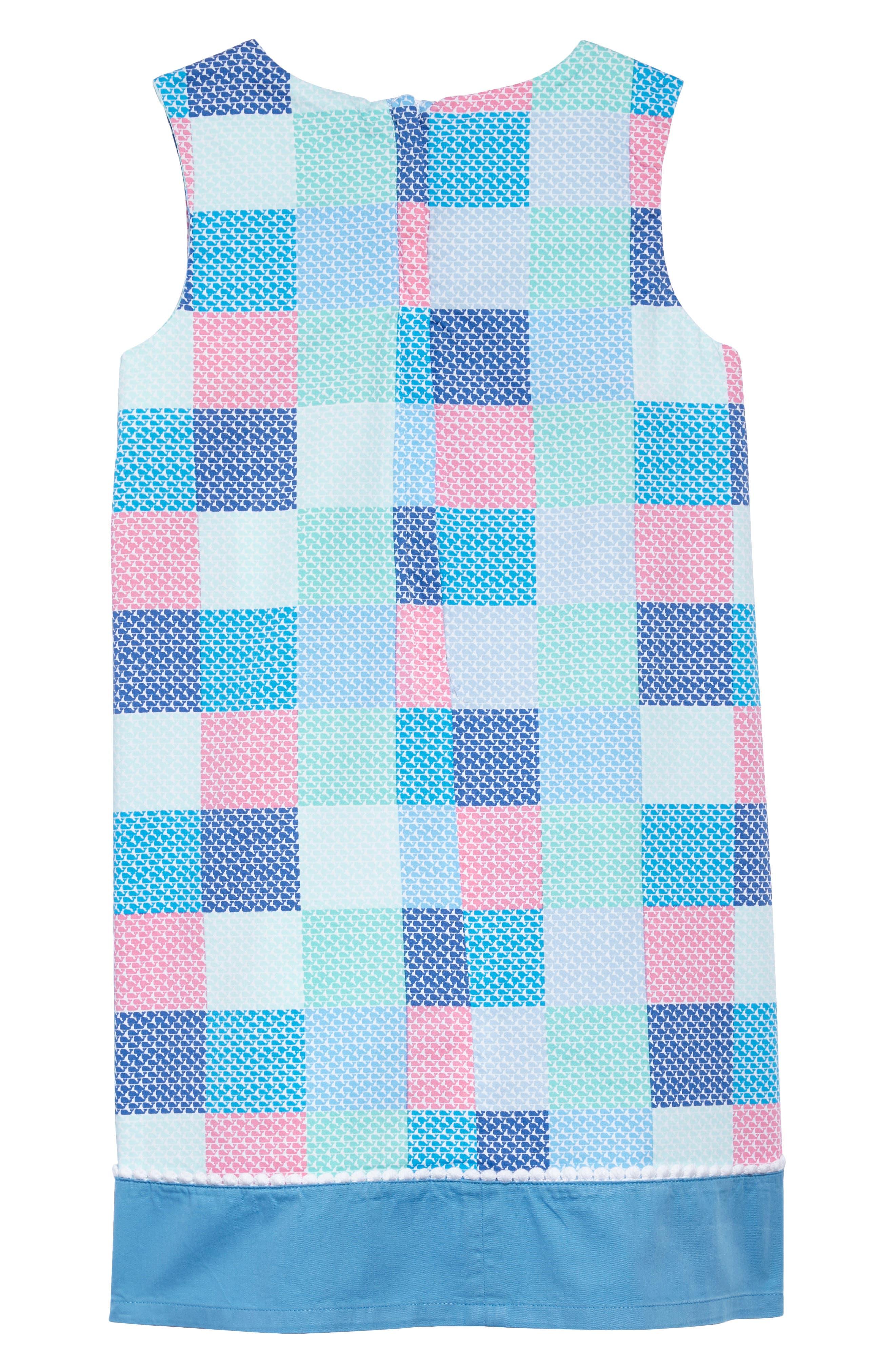 Check Shift Dress,                             Alternate thumbnail 2, color,                             Cool Breeze