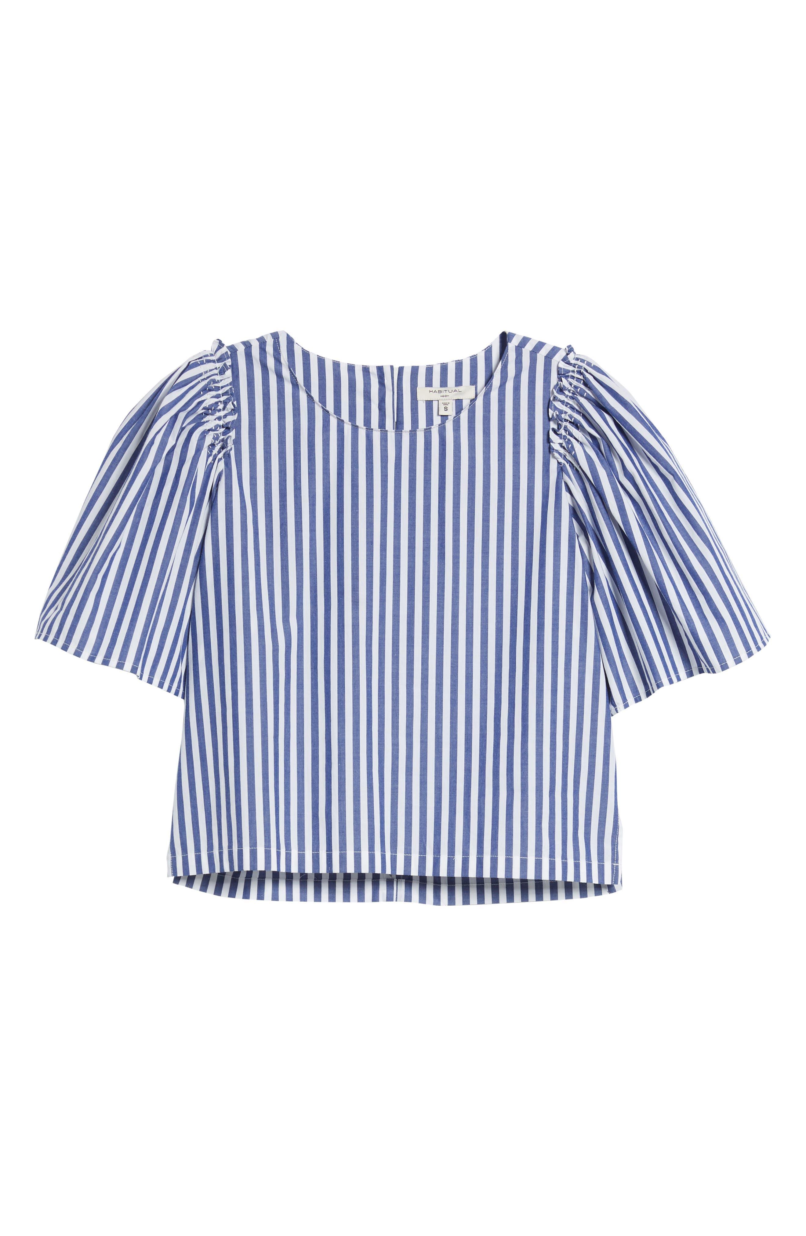 Valeria Stripe Stretch Cotton Top,                             Alternate thumbnail 7, color,                             Blue/ White