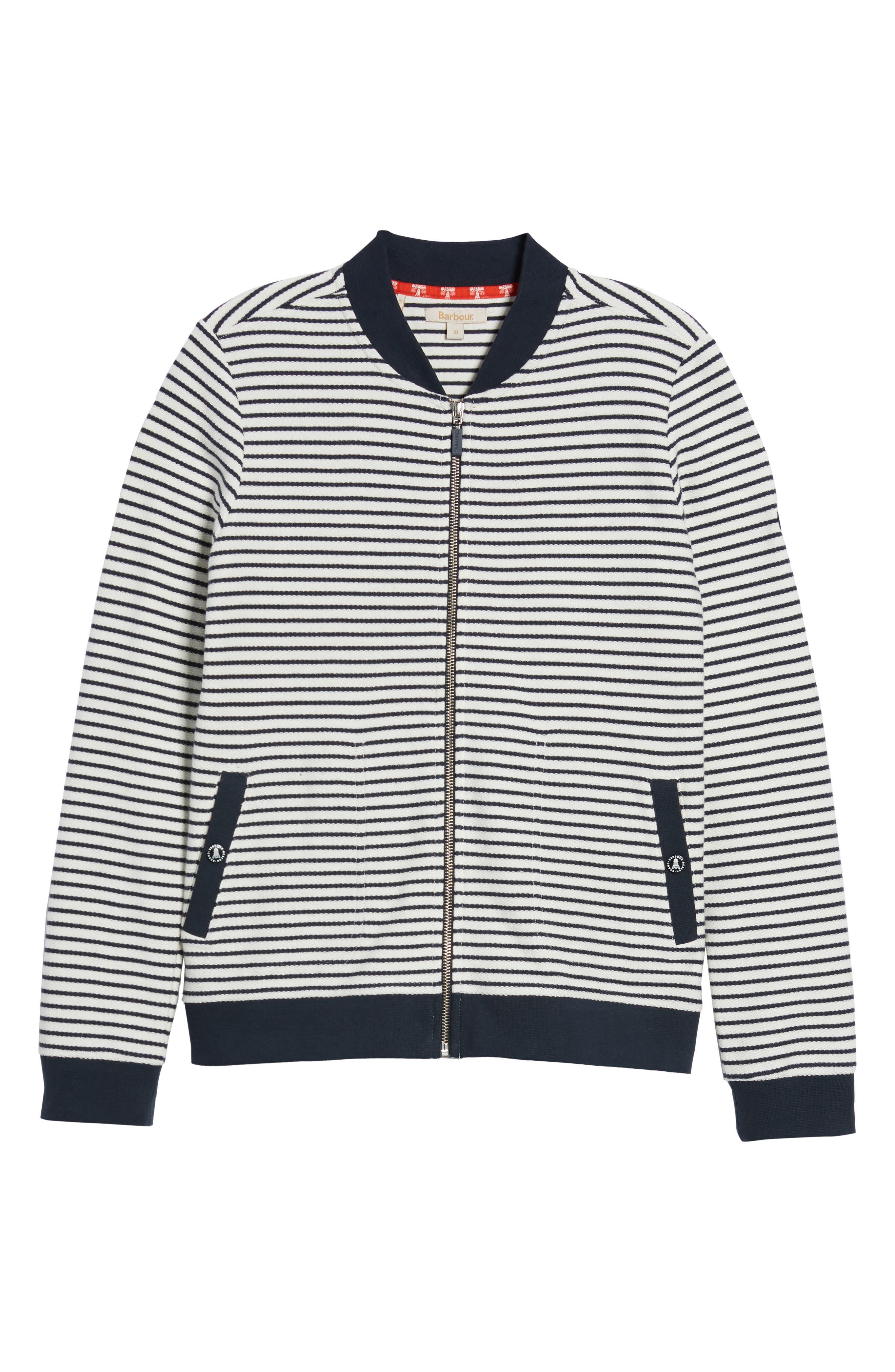 Bamburgh Sweater Jacket,                             Alternate thumbnail 7, color,                             White/ Navy