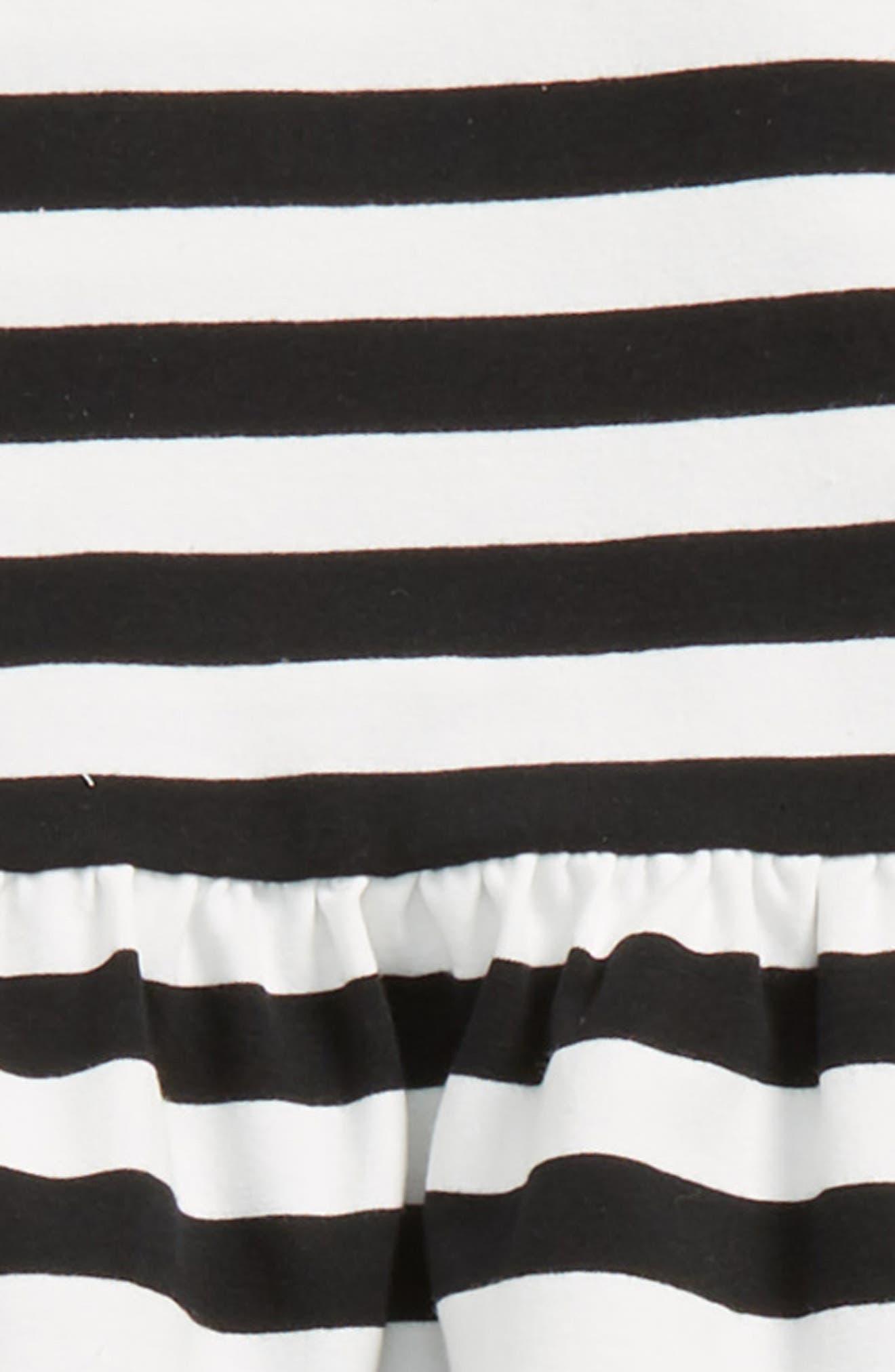 stripe cold shoulder tee & leggings set,                             Alternate thumbnail 2, color,                             Black/ Fresh White