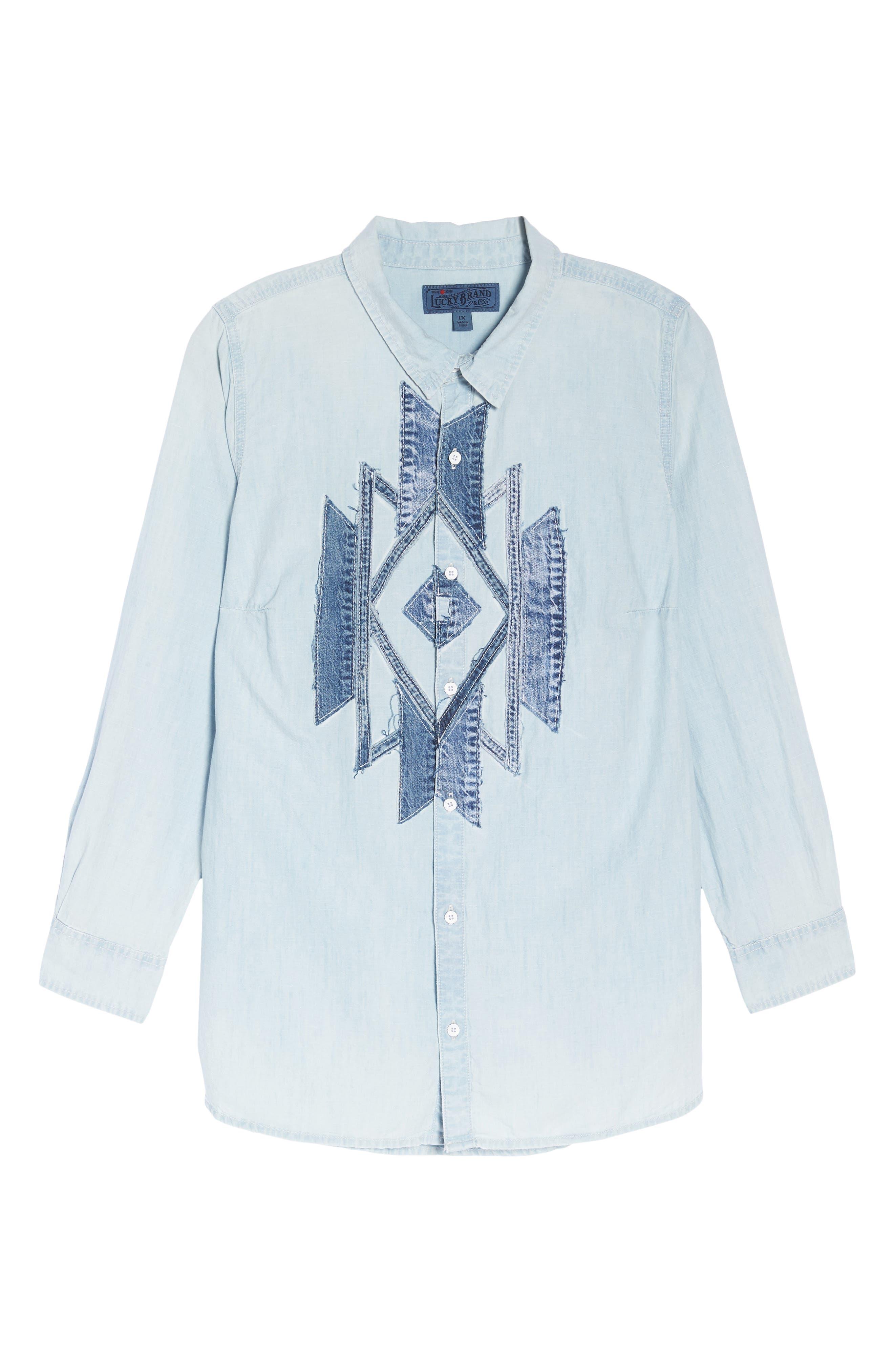 Denim Appliqué Chambray Shirt,                             Alternate thumbnail 7, color,                             Navajo Fort Bend