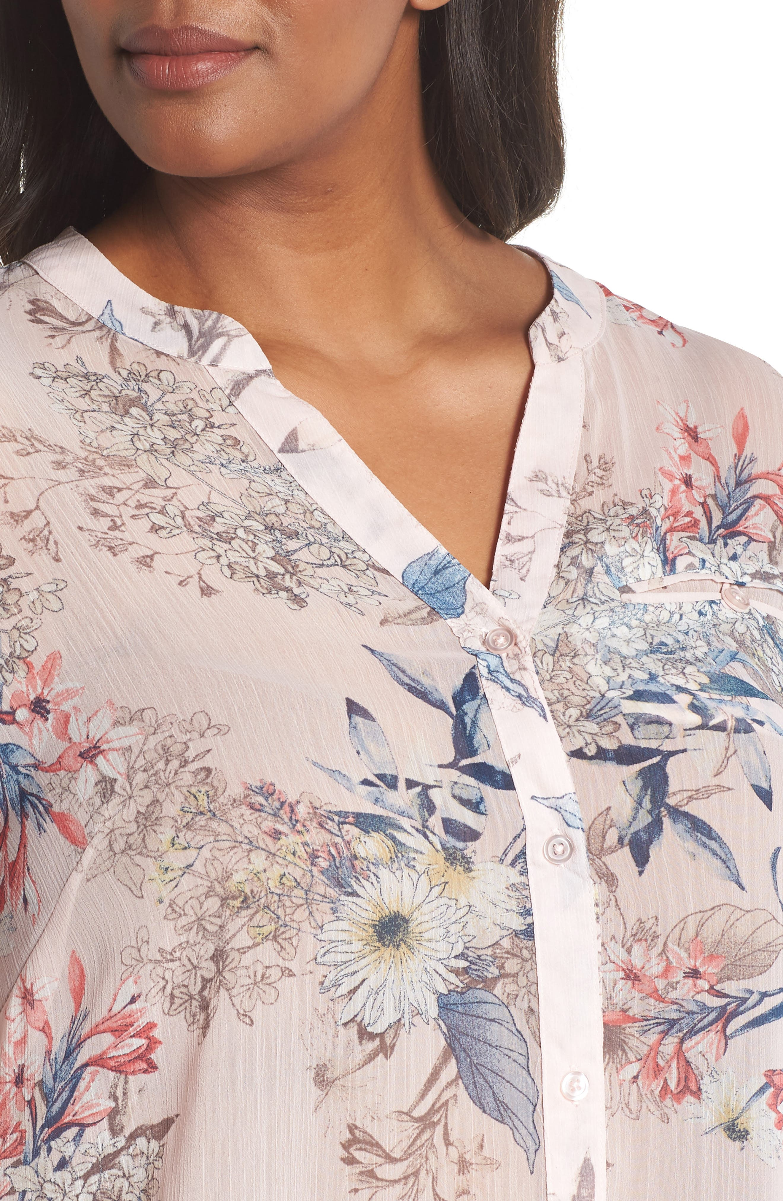 Jasmine Floral Roll Sleeve Top,                             Alternate thumbnail 4, color,                             Pale Pink