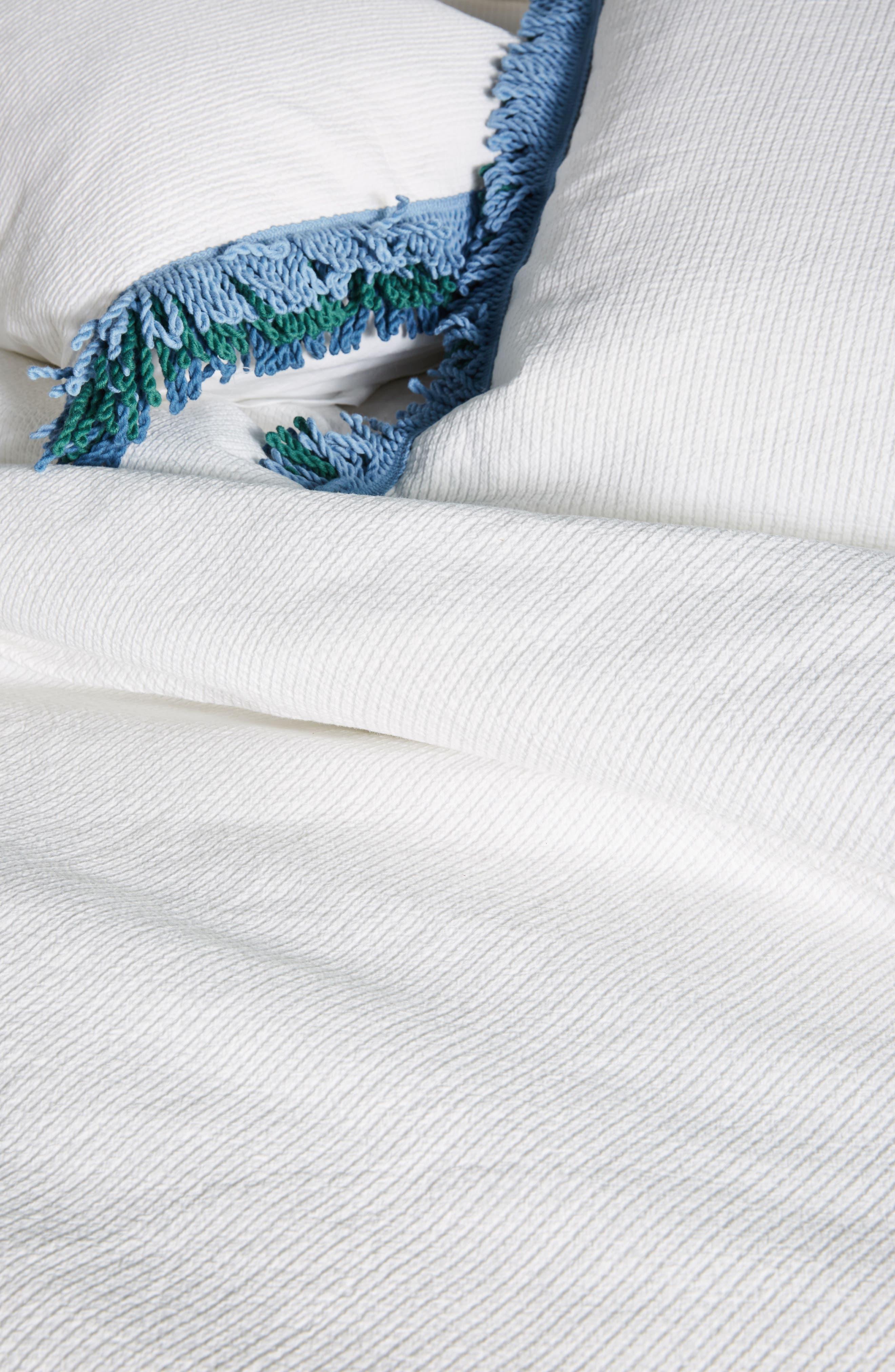 Layered Fringe Duvet Cover,                             Alternate thumbnail 2, color,                             White