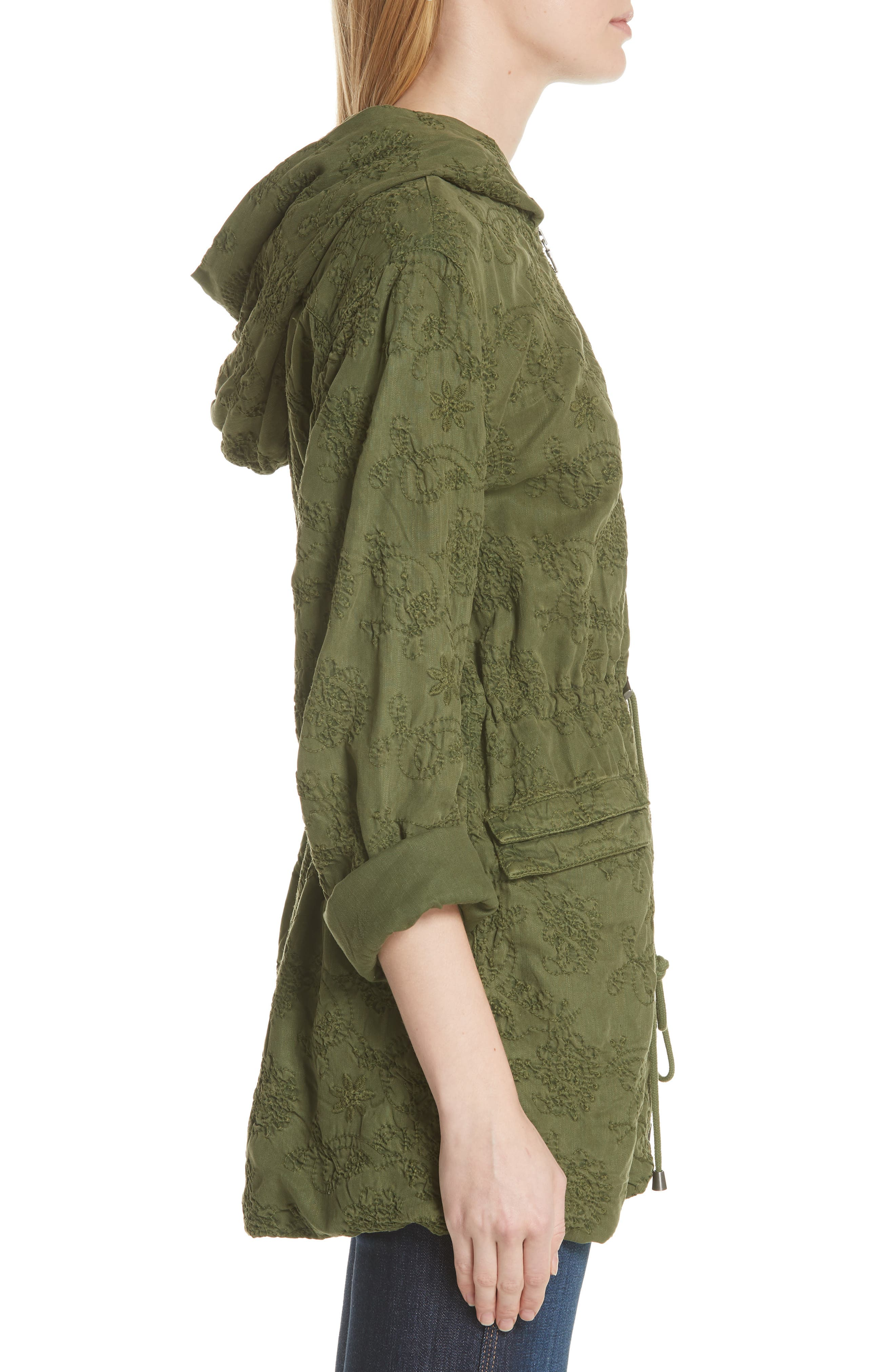Marna Embroidered Hooded Parka,                             Alternate thumbnail 6, color,                             Olive