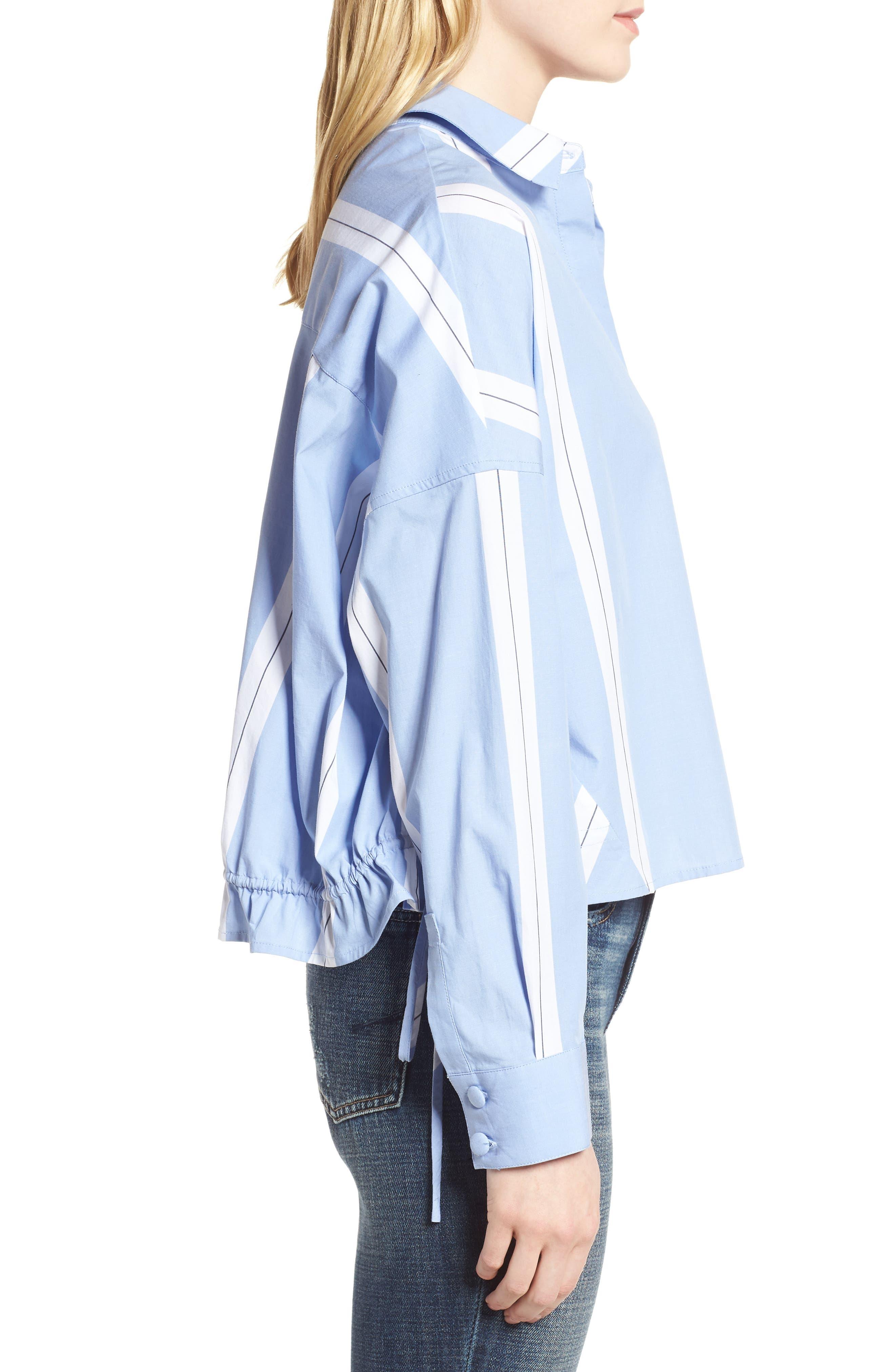 Adele Blouson Top,                             Alternate thumbnail 3, color,                             Bright White/ Cornflower Blue