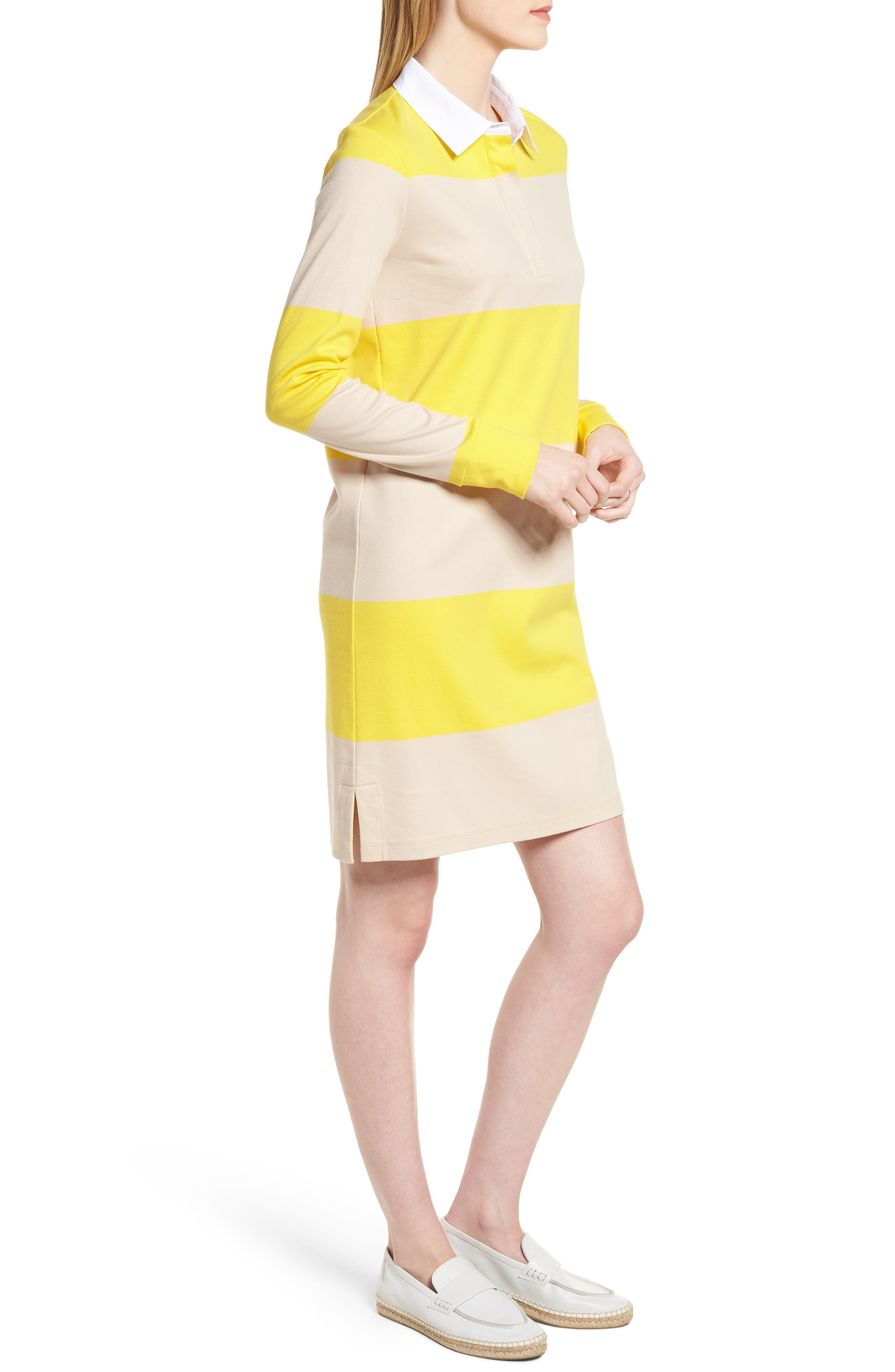 Cotton Rugby Dress,                             Alternate thumbnail 3, color,                             Yellow- Beige Stripe
