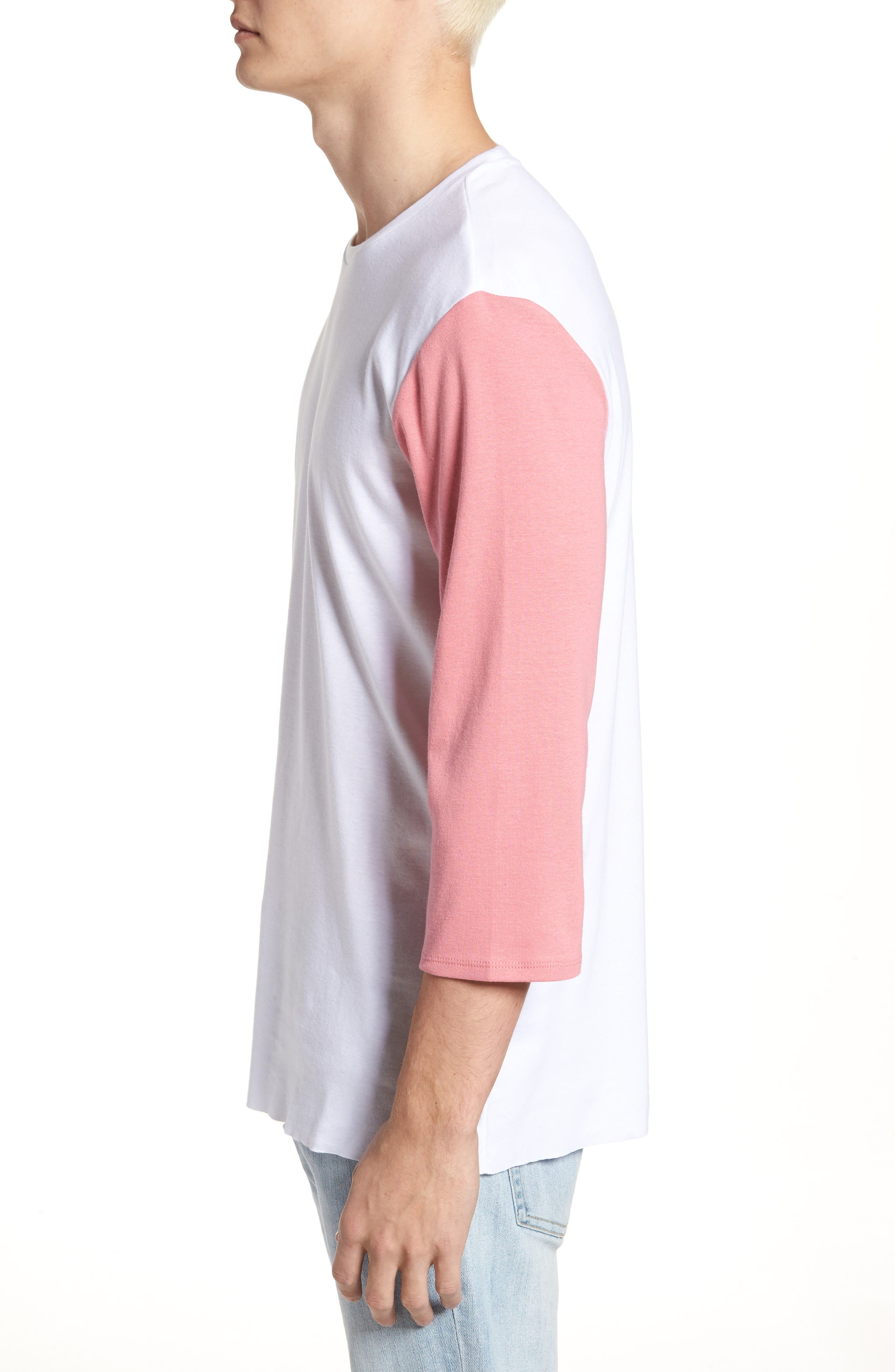 Contrast Sleeve T-Shirt,                             Alternate thumbnail 3, color,                             White/ Pink / Blue
