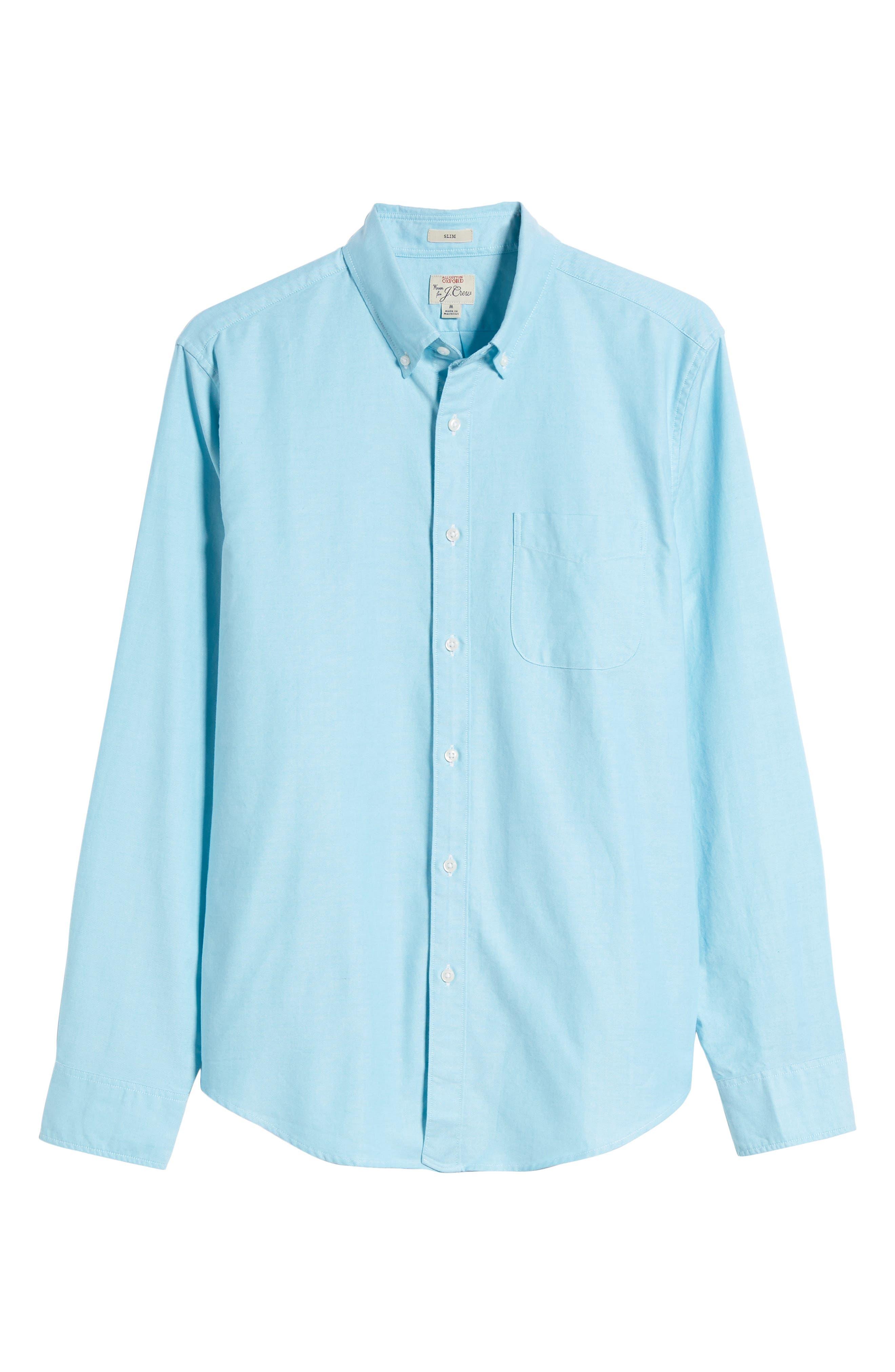 Slim Fit Stretch Pima Cotton Oxford Shirt,                         Main,                         color, Tropical Blue