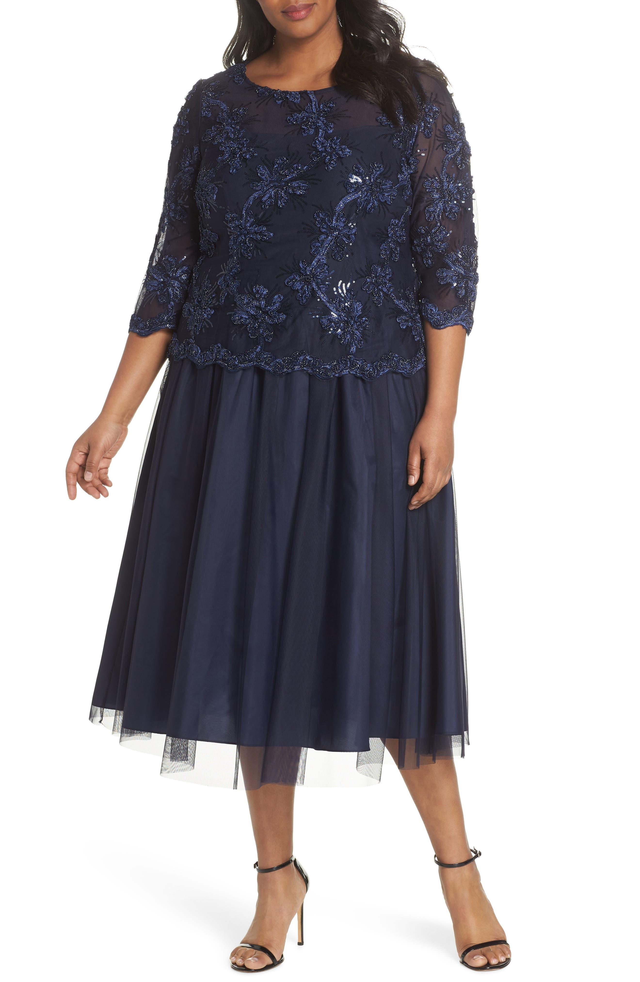 Embellished Bodice Tea Length Mesh Dress,                         Main,                         color, Navy
