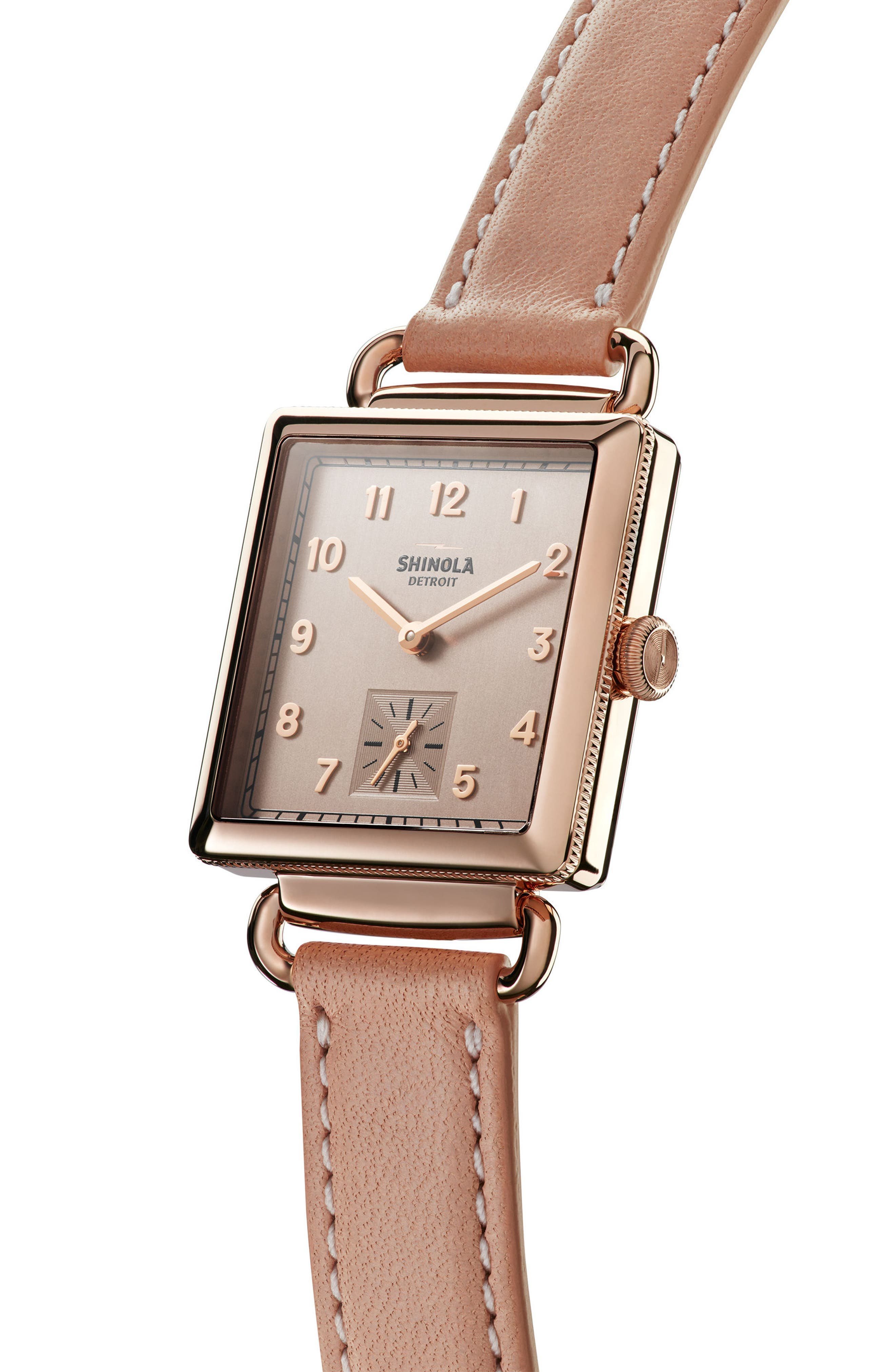 Cass Leather Strap Watch, 28mm,                             Alternate thumbnail 3, color,                             Nude/ Gold