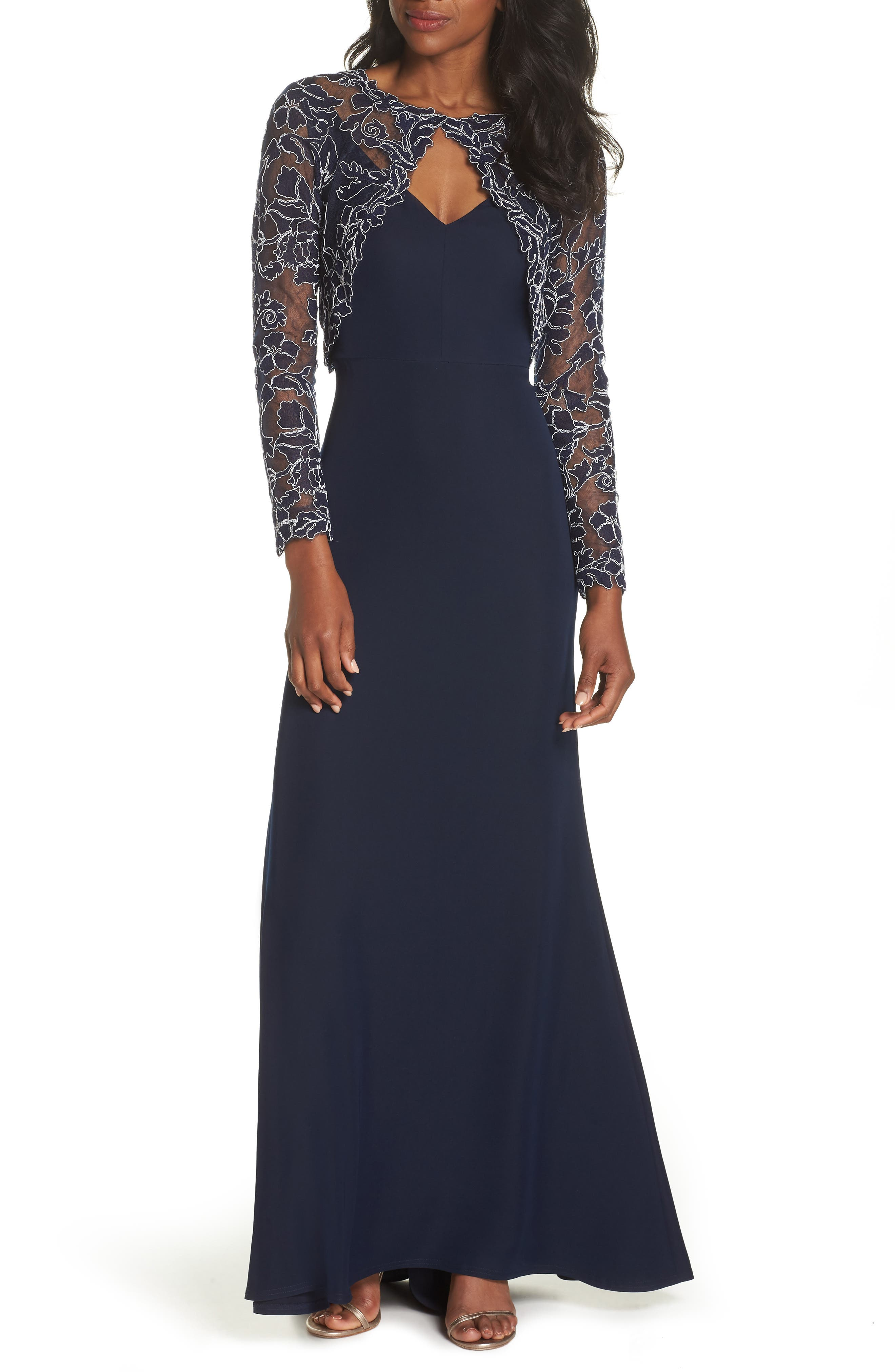 Crepe & Embroidered Lace Gown,                             Main thumbnail 1, color,                             Navy/ Ivory