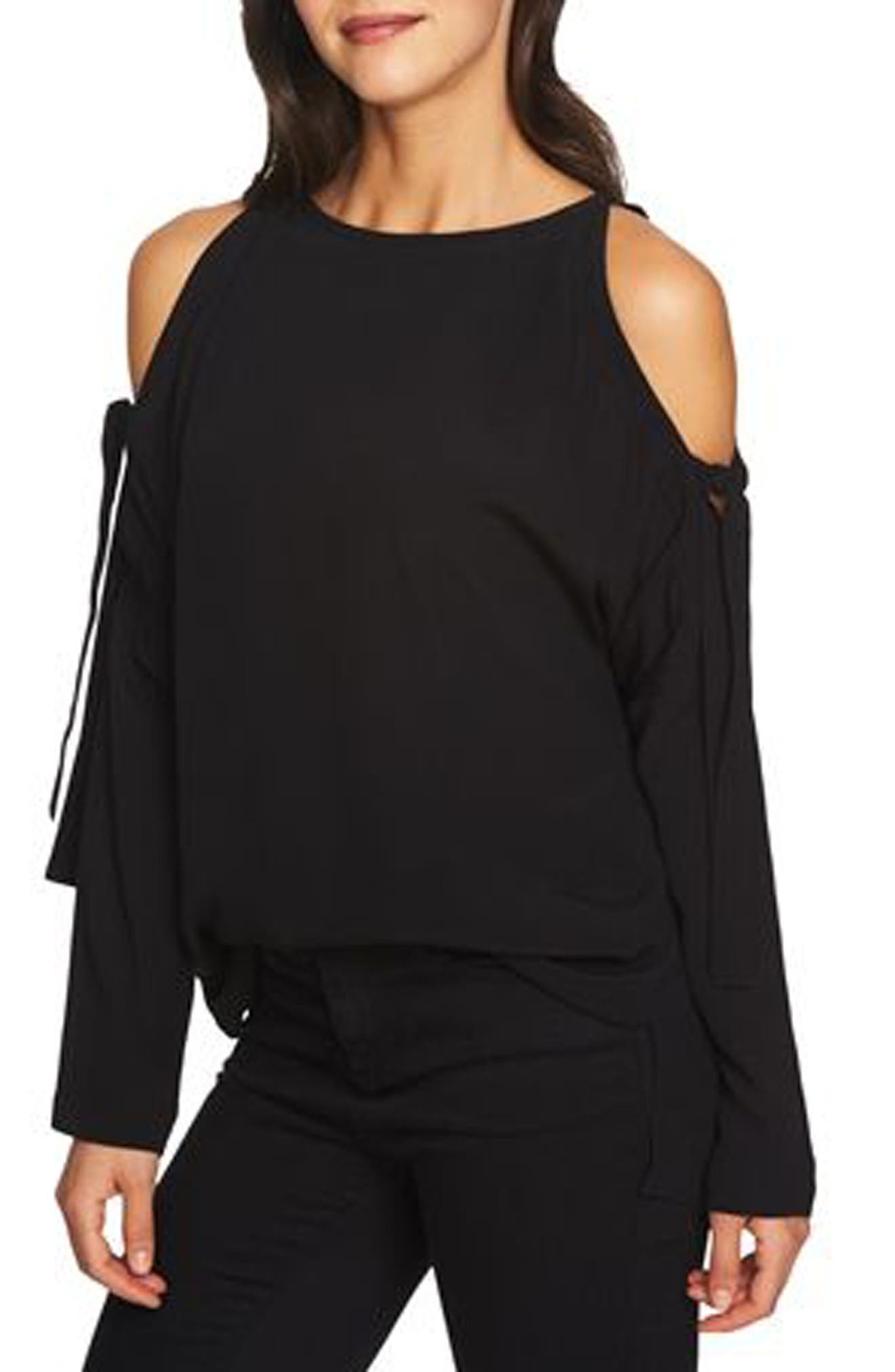 Cold Shoulder Blouse,                             Main thumbnail 1, color,                             Rich Black