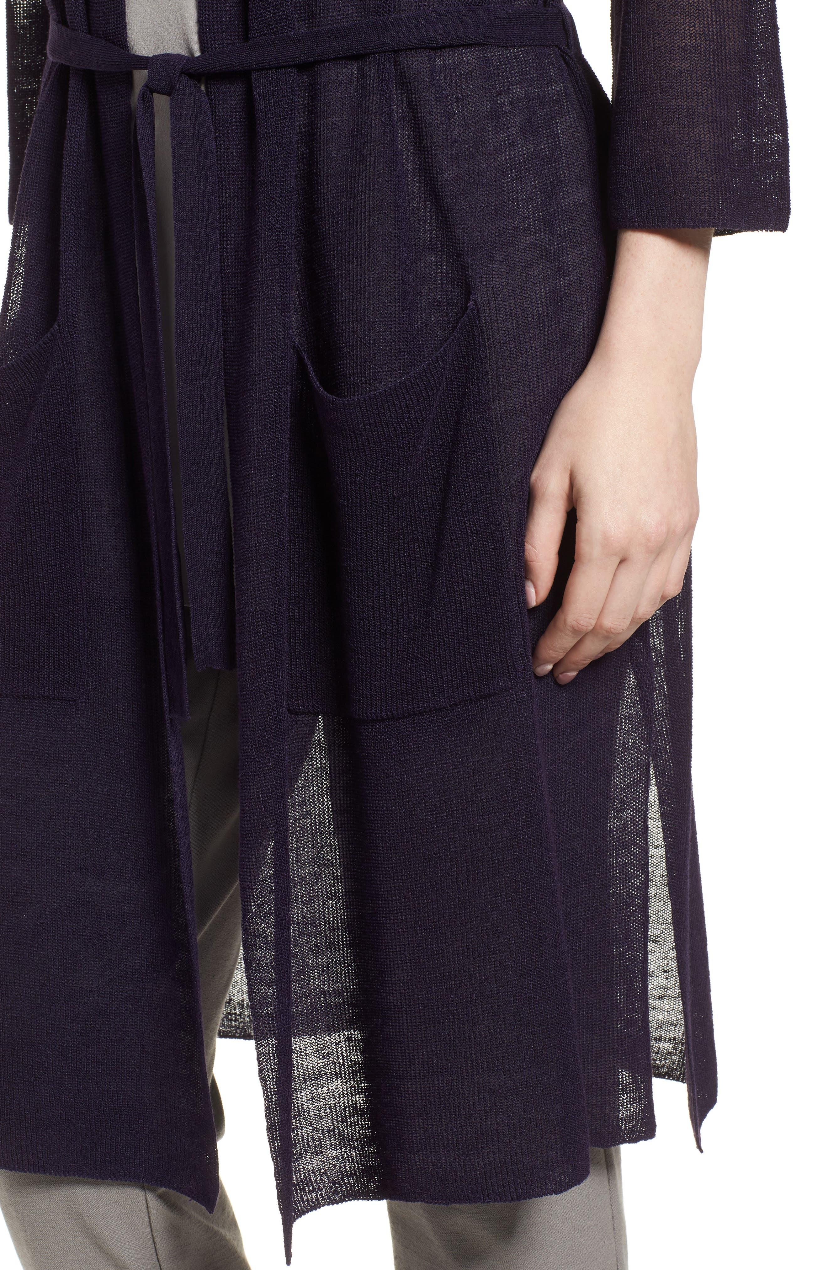 Long Organic Linen Blend Kimono Cardigan,                             Alternate thumbnail 4, color,                             Salt Lake