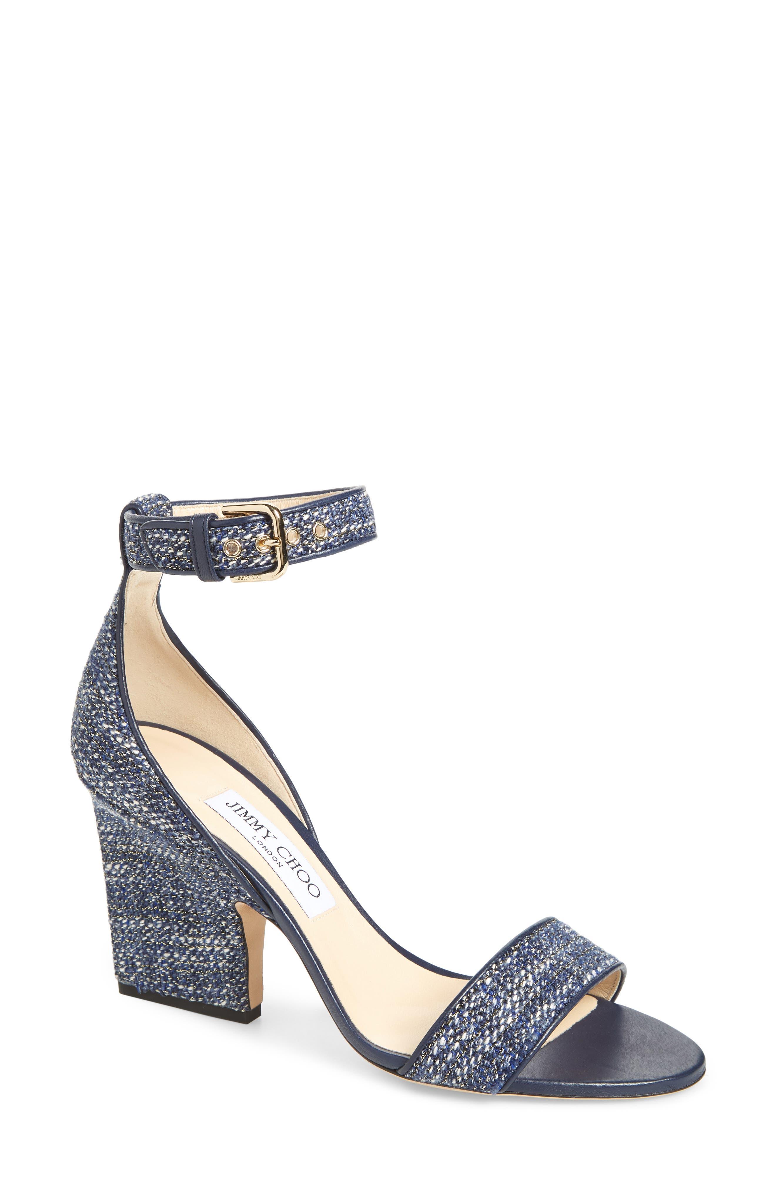 Edina Ankle Strap Sandal,                             Main thumbnail 1, color,                             Navy Glitter