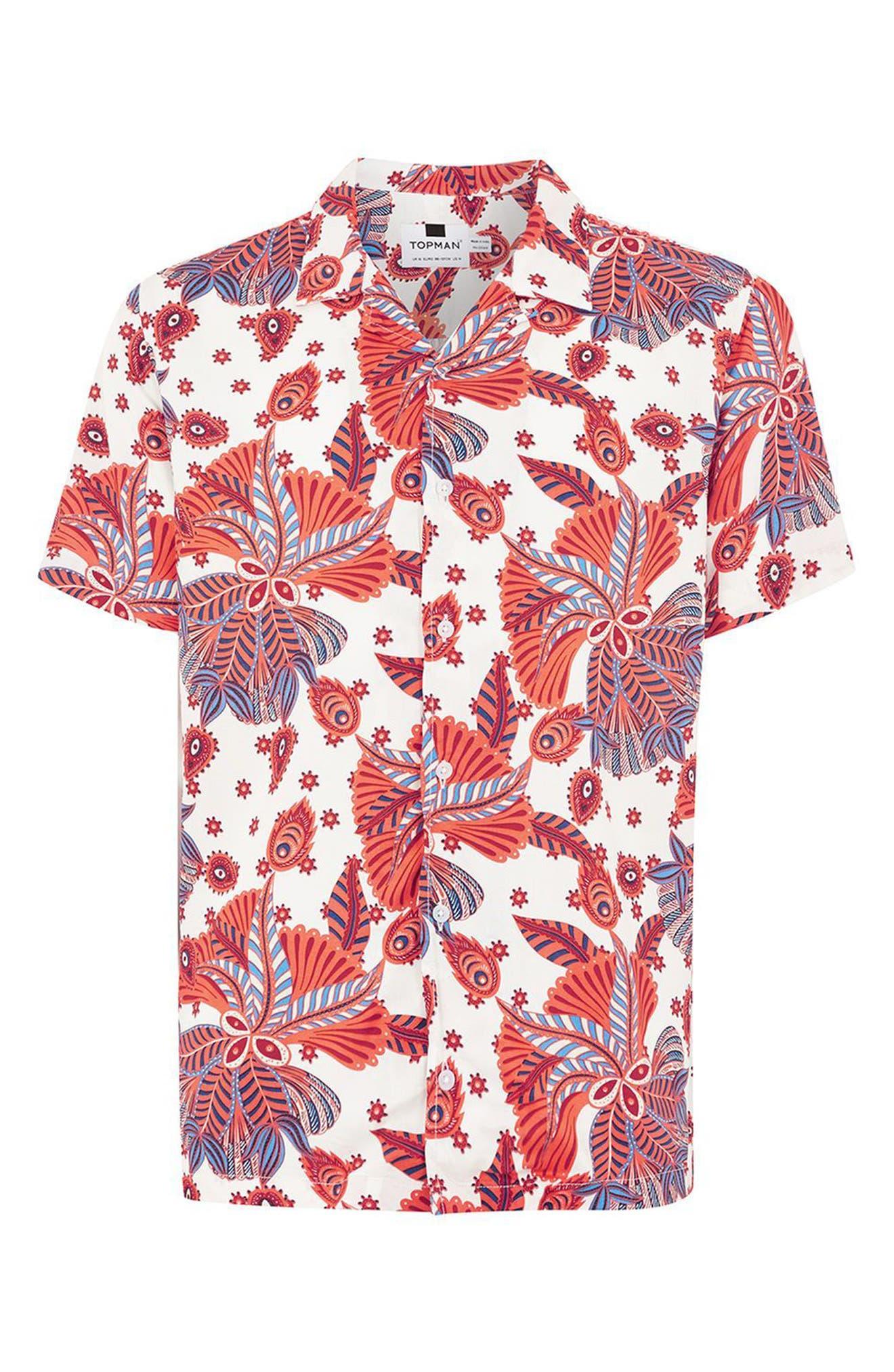 Multi Print Shirt,                             Alternate thumbnail 4, color,                             White Multi