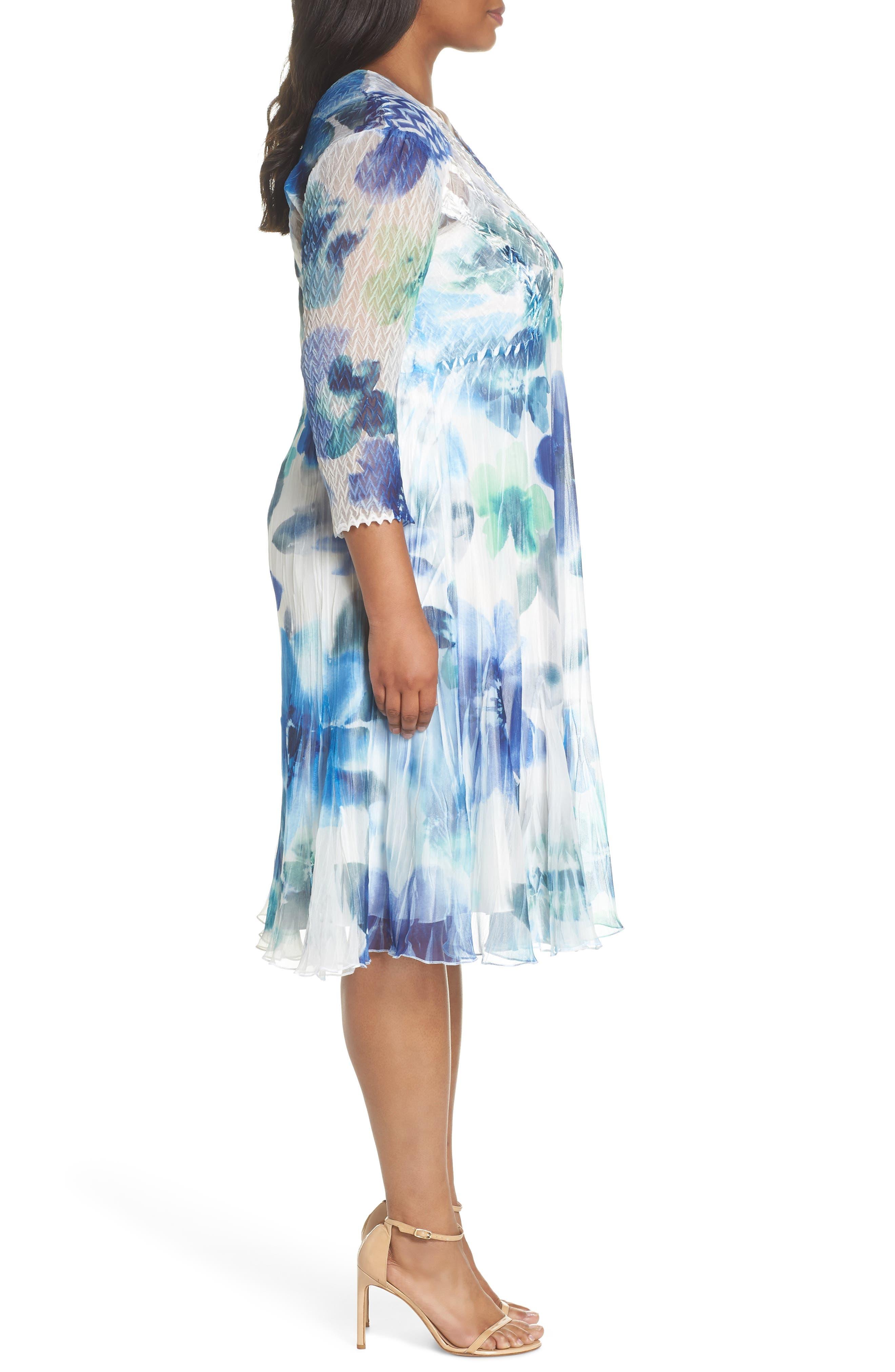 Floral Chiffon A-Line Dress,                             Alternate thumbnail 3, color,                             Azure Meadow