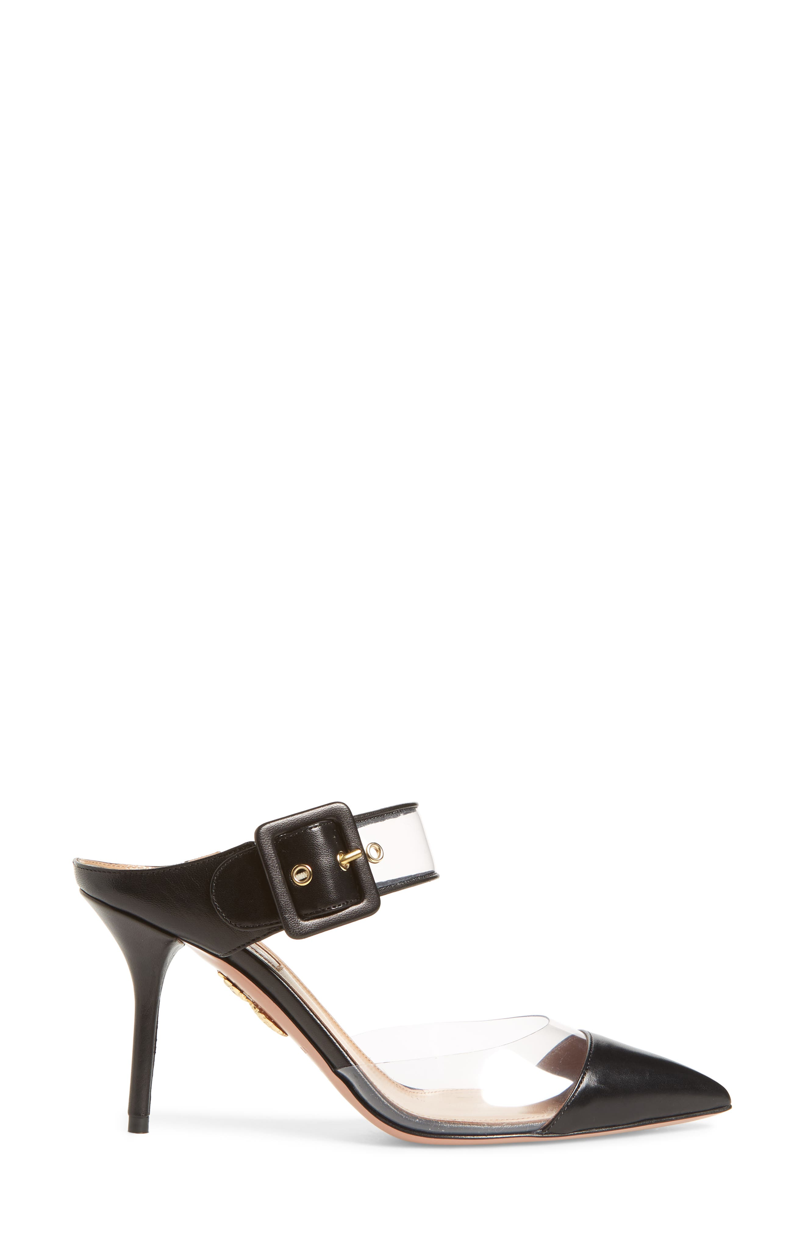 Optic Clear Pointy Toe Mule,                             Alternate thumbnail 3, color,                             Black