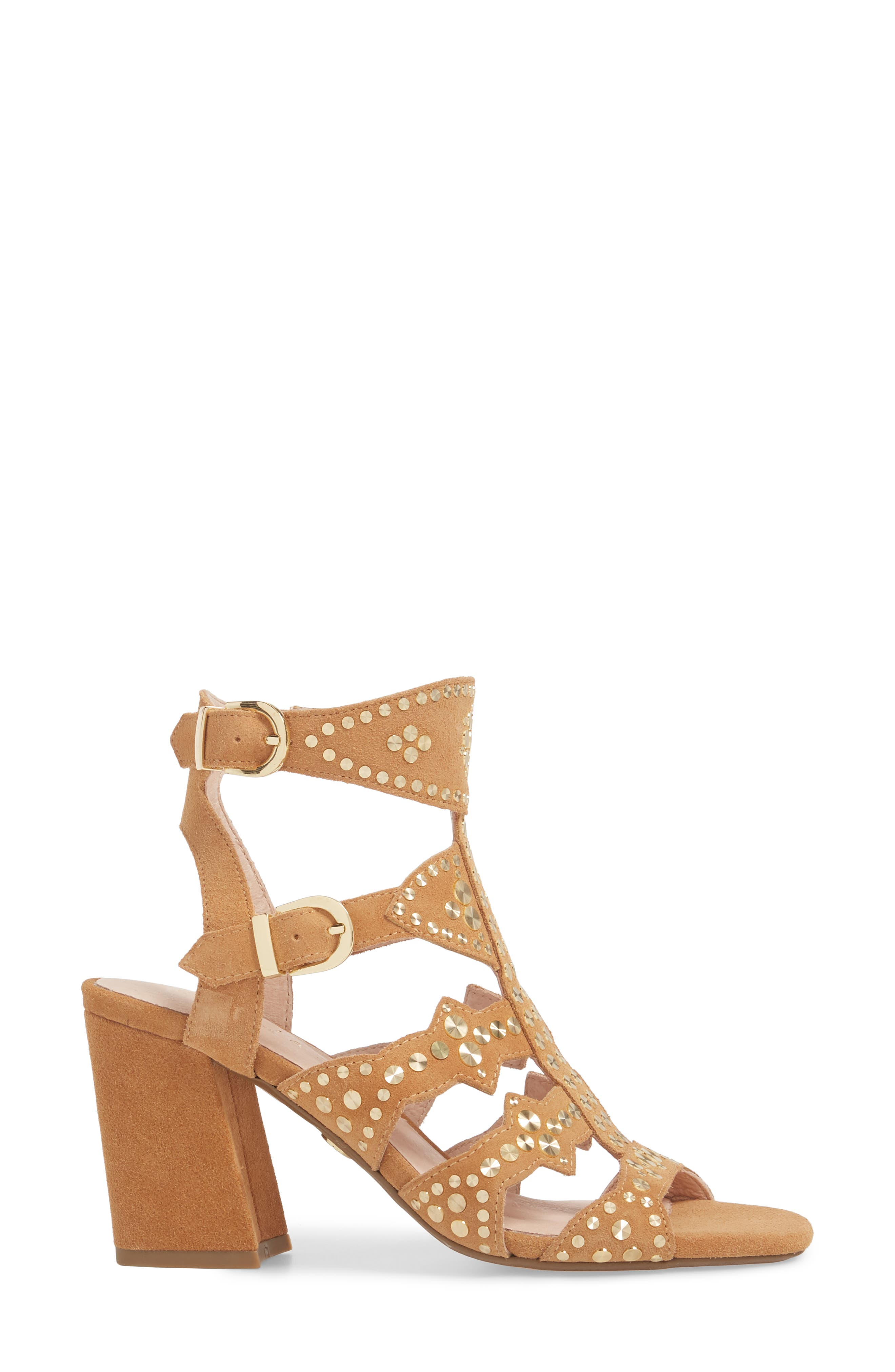Cosmo Studded Sandal,                             Alternate thumbnail 3, color,                             Sand Suede