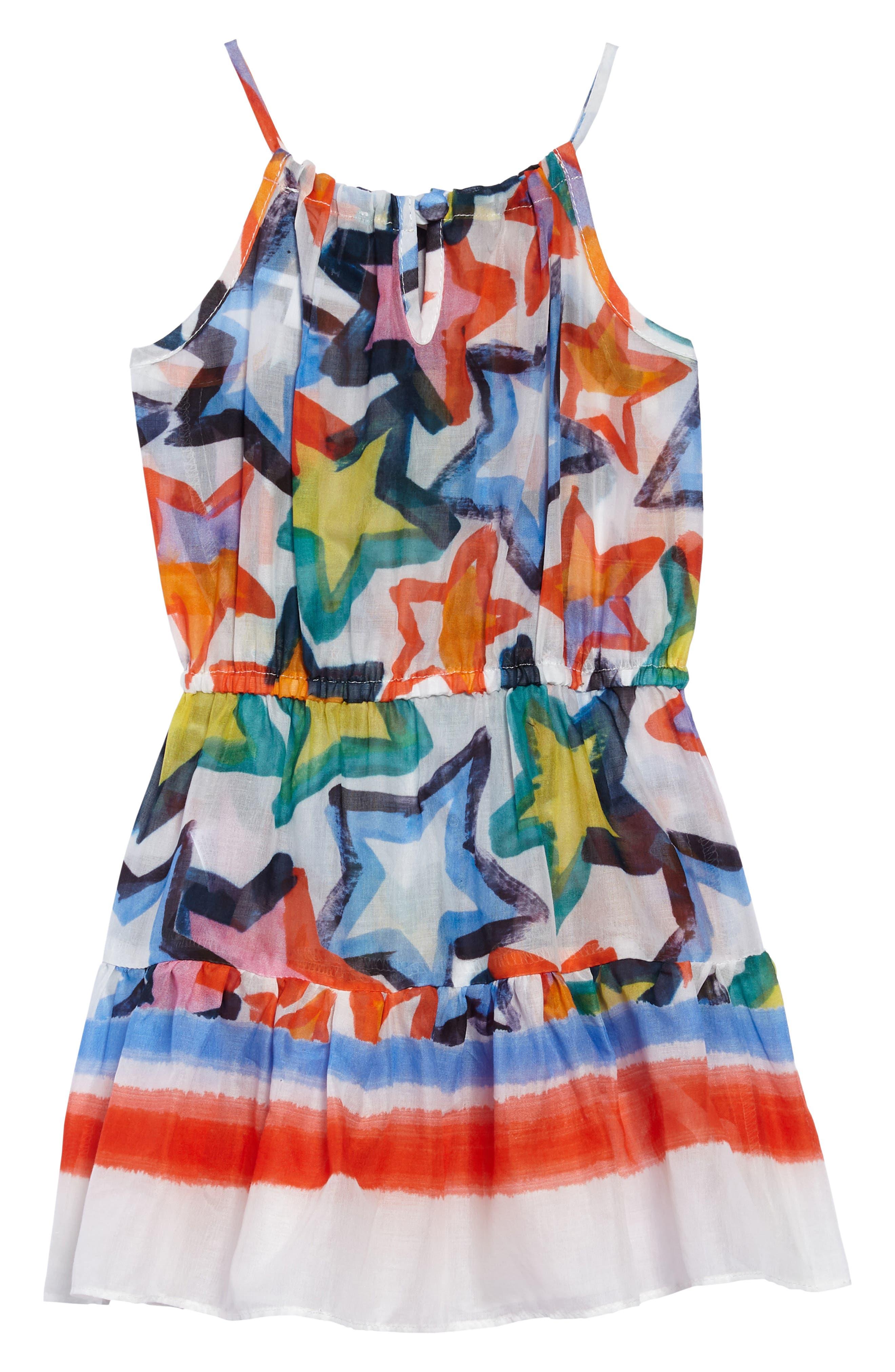 Tiered Dress,                             Alternate thumbnail 2, color,                             White Multi