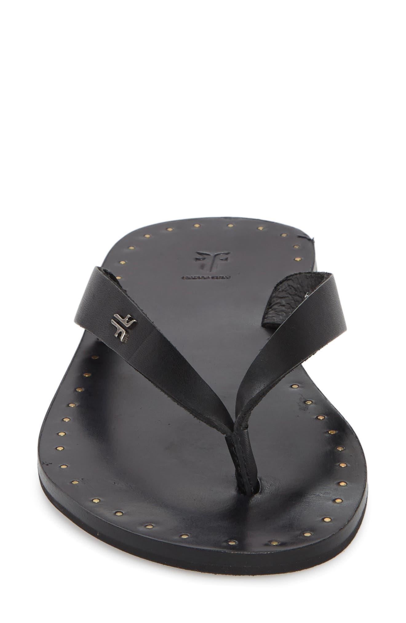 Ally Flip Flop,                             Alternate thumbnail 4, color,                             Black Leather