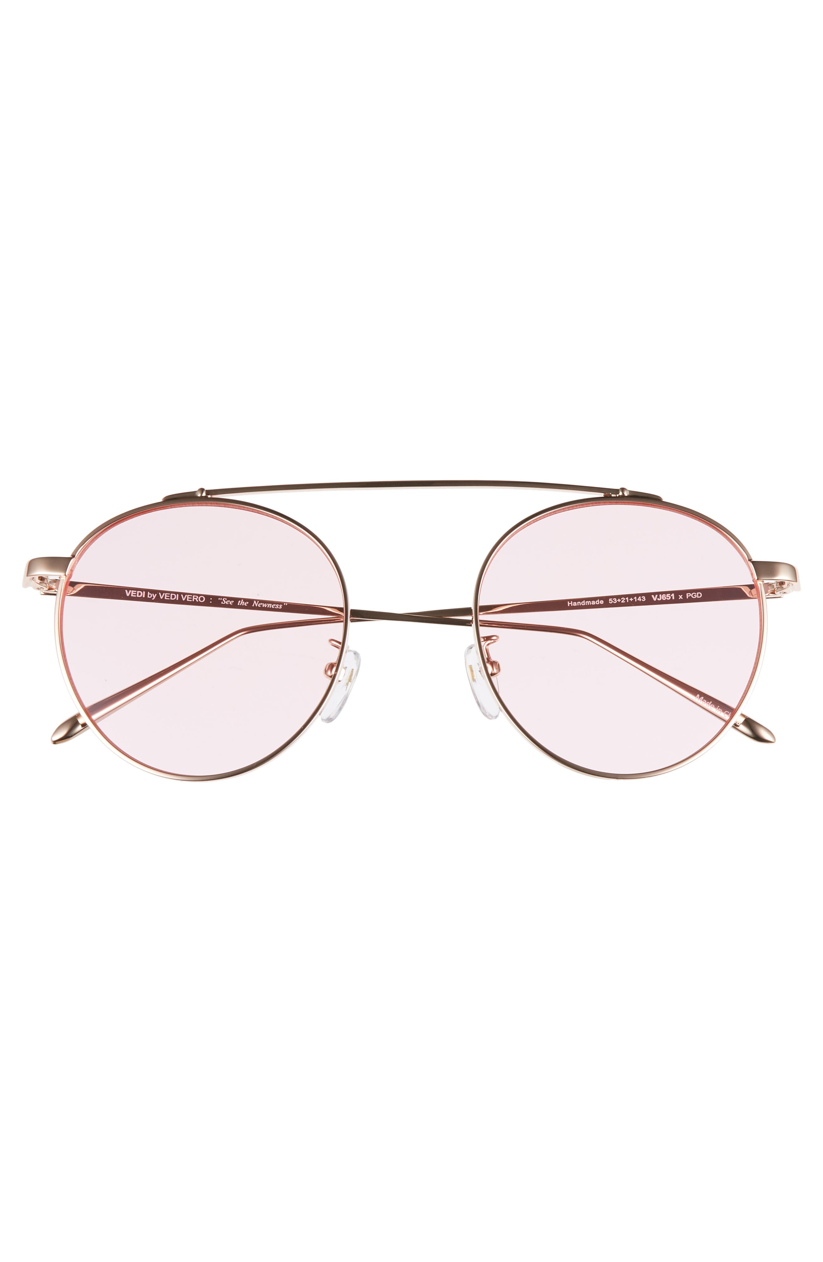 53mm Round Sunglasses,                             Alternate thumbnail 3, color,                             Rosegld/Pink