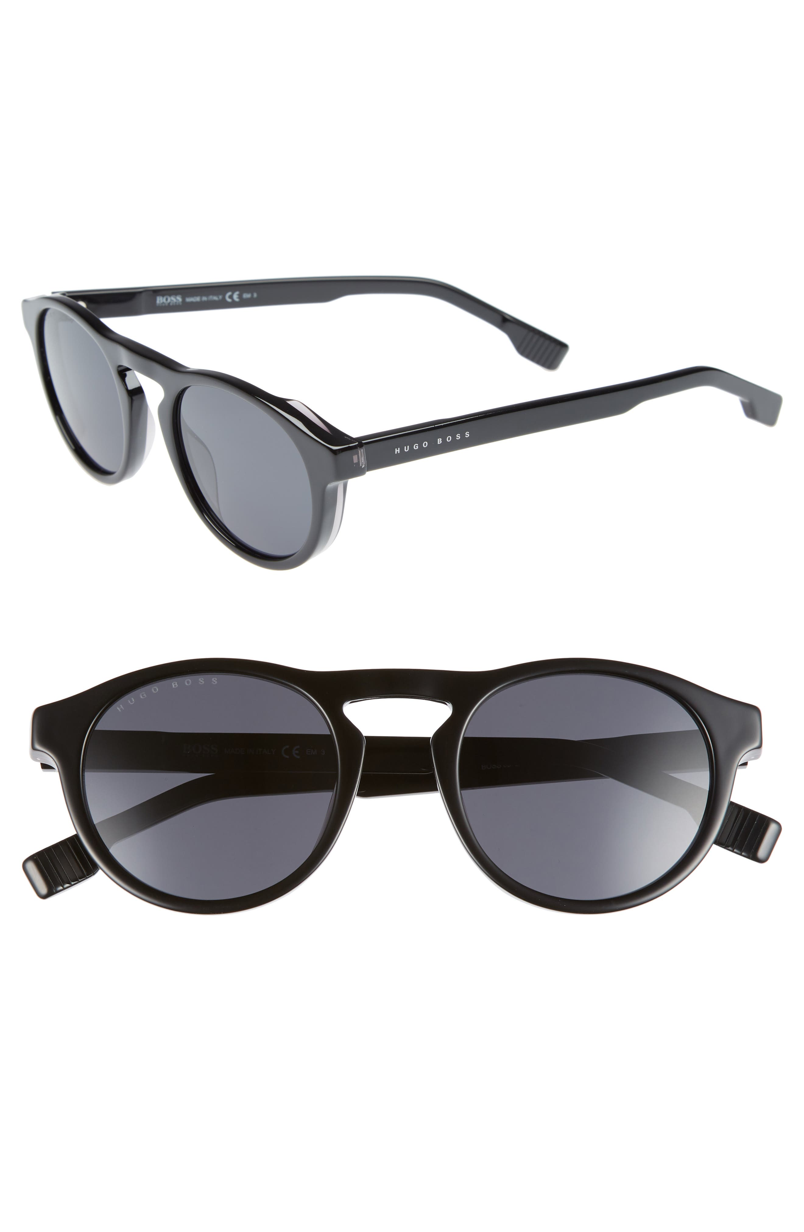 50mm Polarized Round Sunglasses,                             Main thumbnail 1, color,                             Black/ Grey