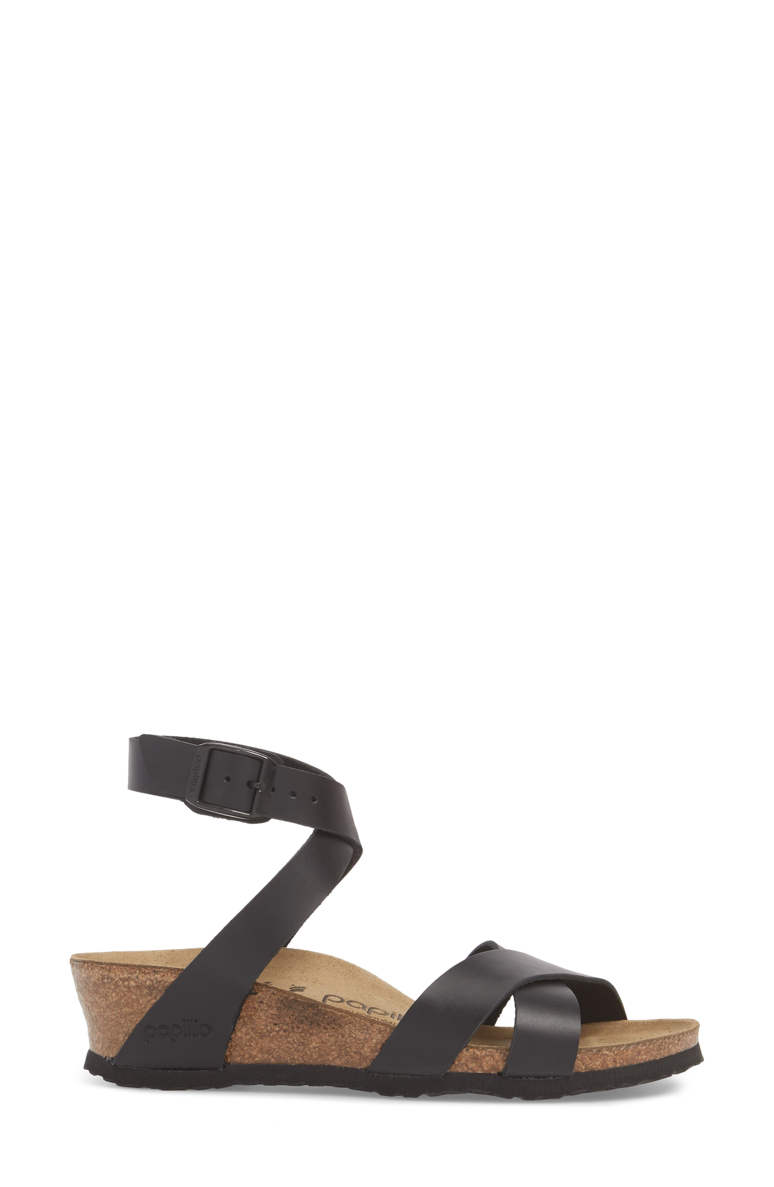 Papillio by Birkenstock Lola Wedge Sandal,                             Alternate thumbnail 3, color,                             Black Leather