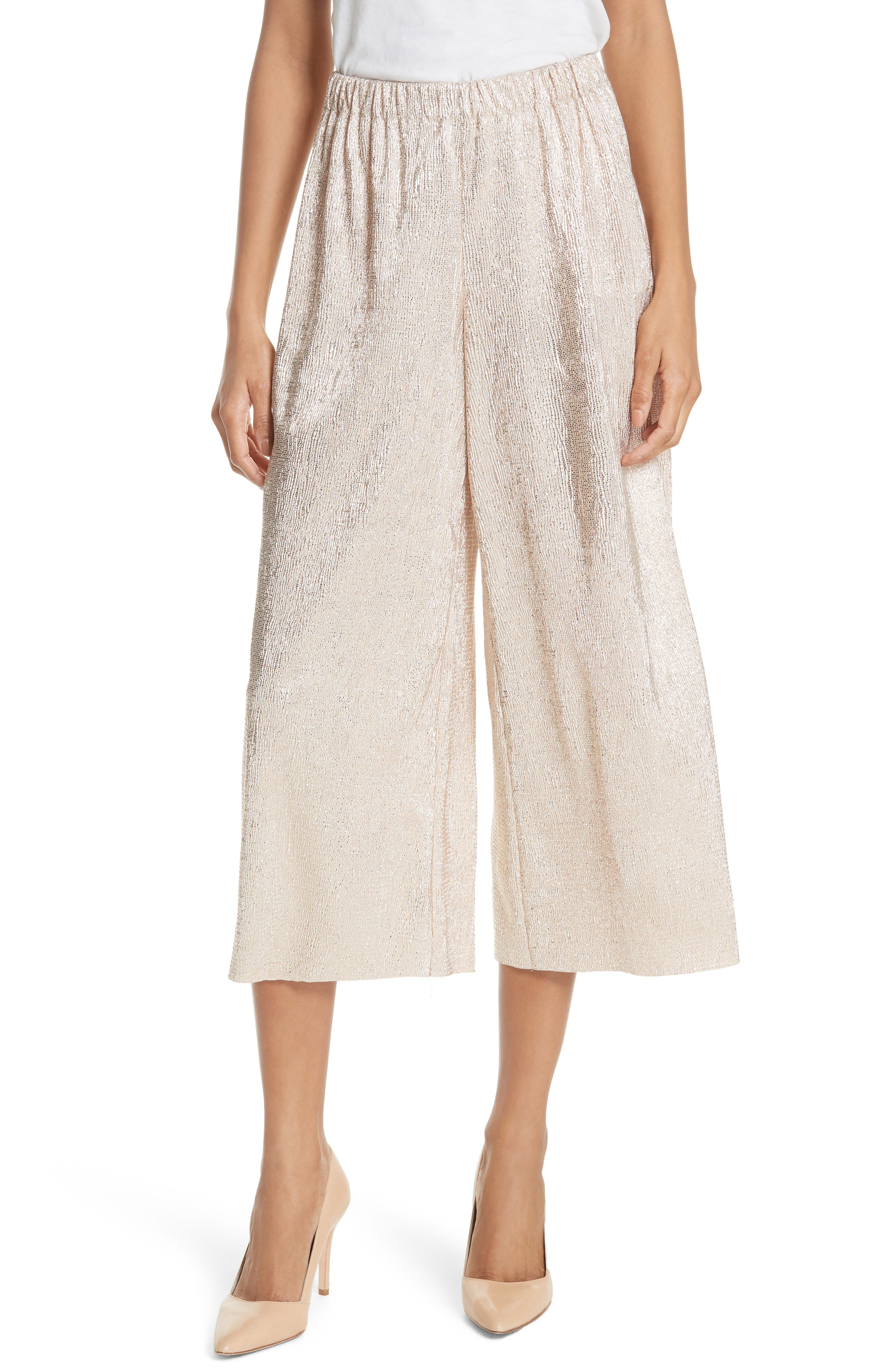 Alice + Olivia Elba Textured Crepe Wide Leg Pants