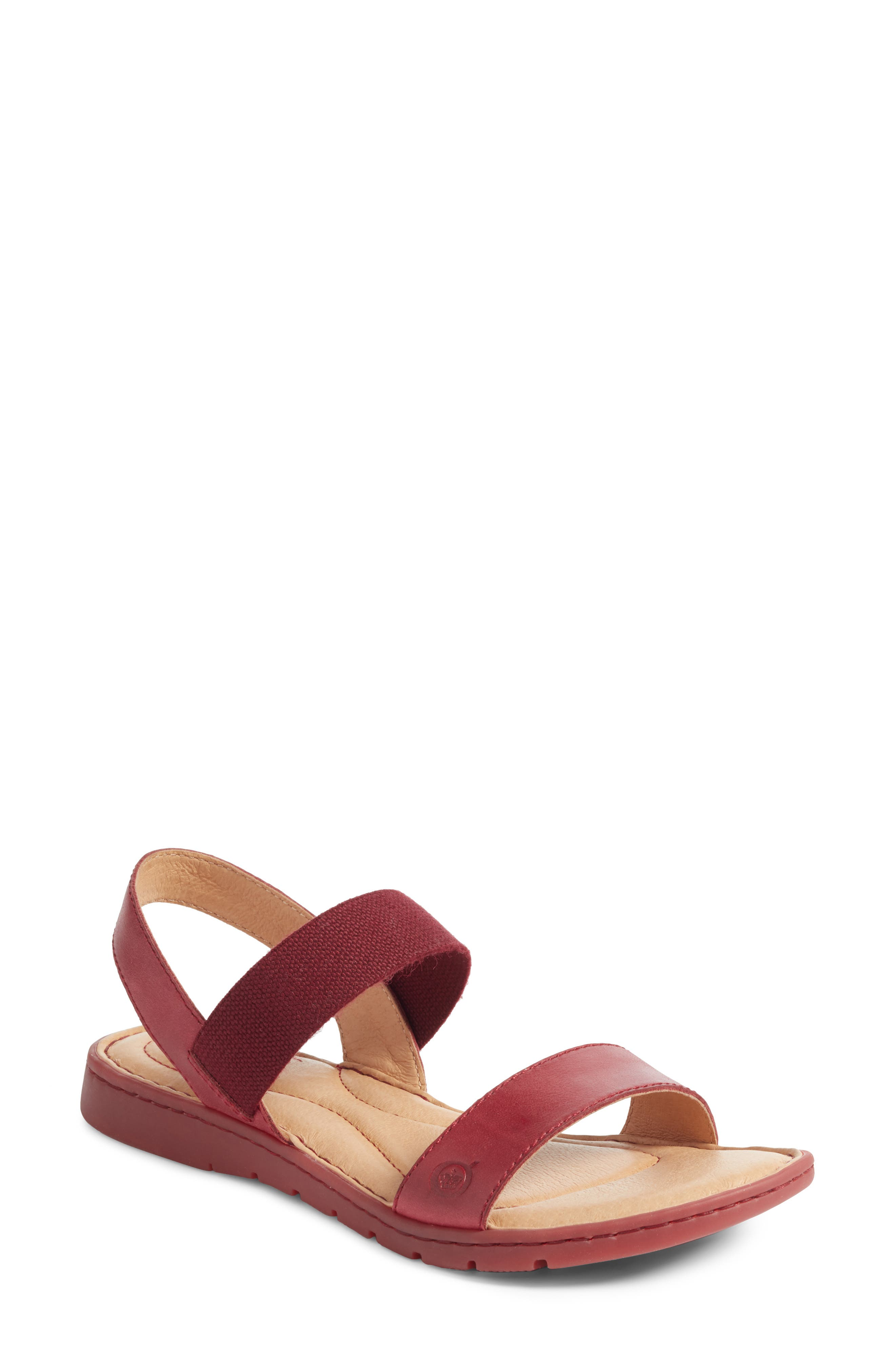 Börn Elstar Sandal,                         Main,                         color, Red Leather