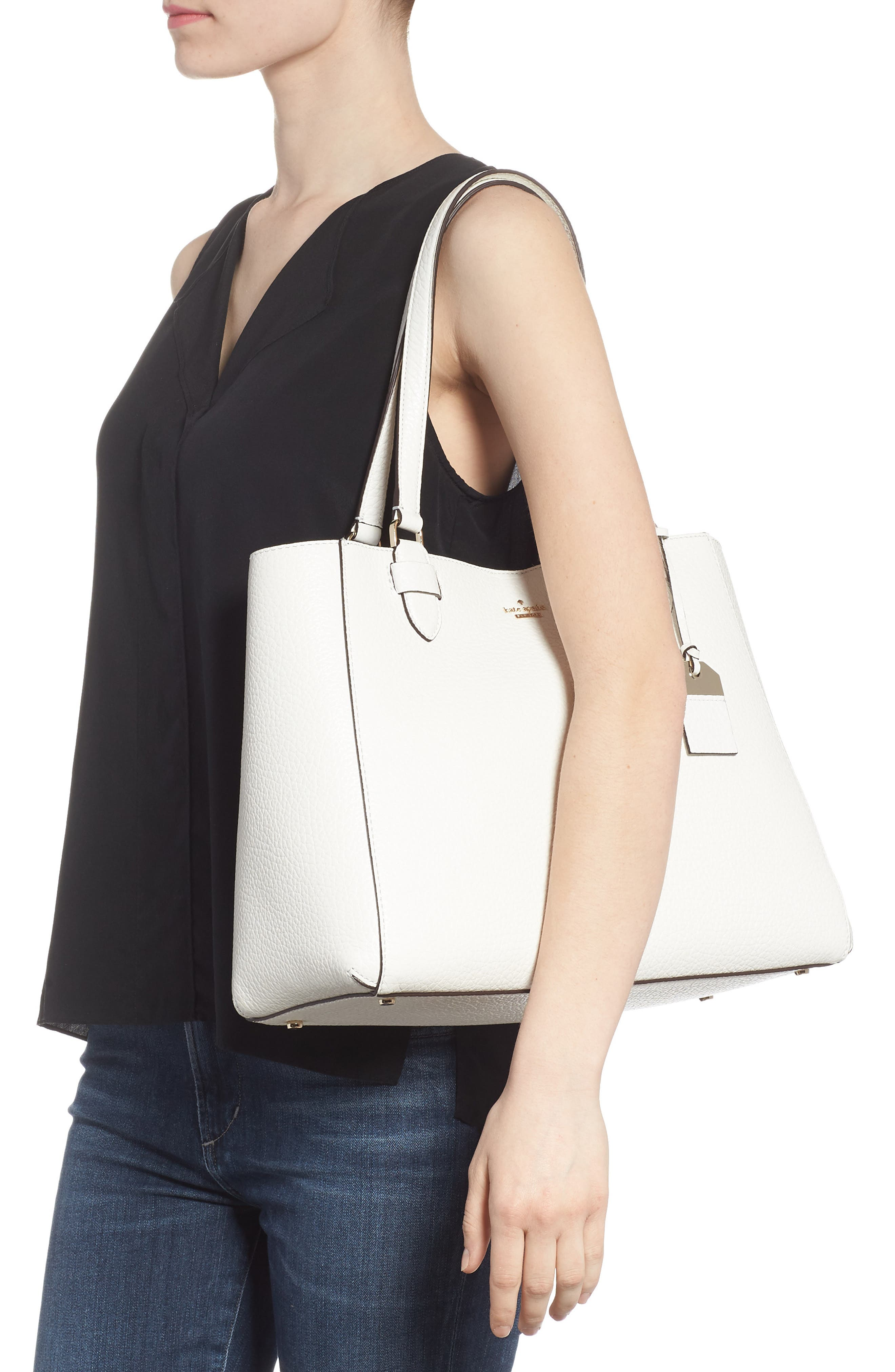 carter street - tyler leather tote,                             Alternate thumbnail 2, color,                             Bright White