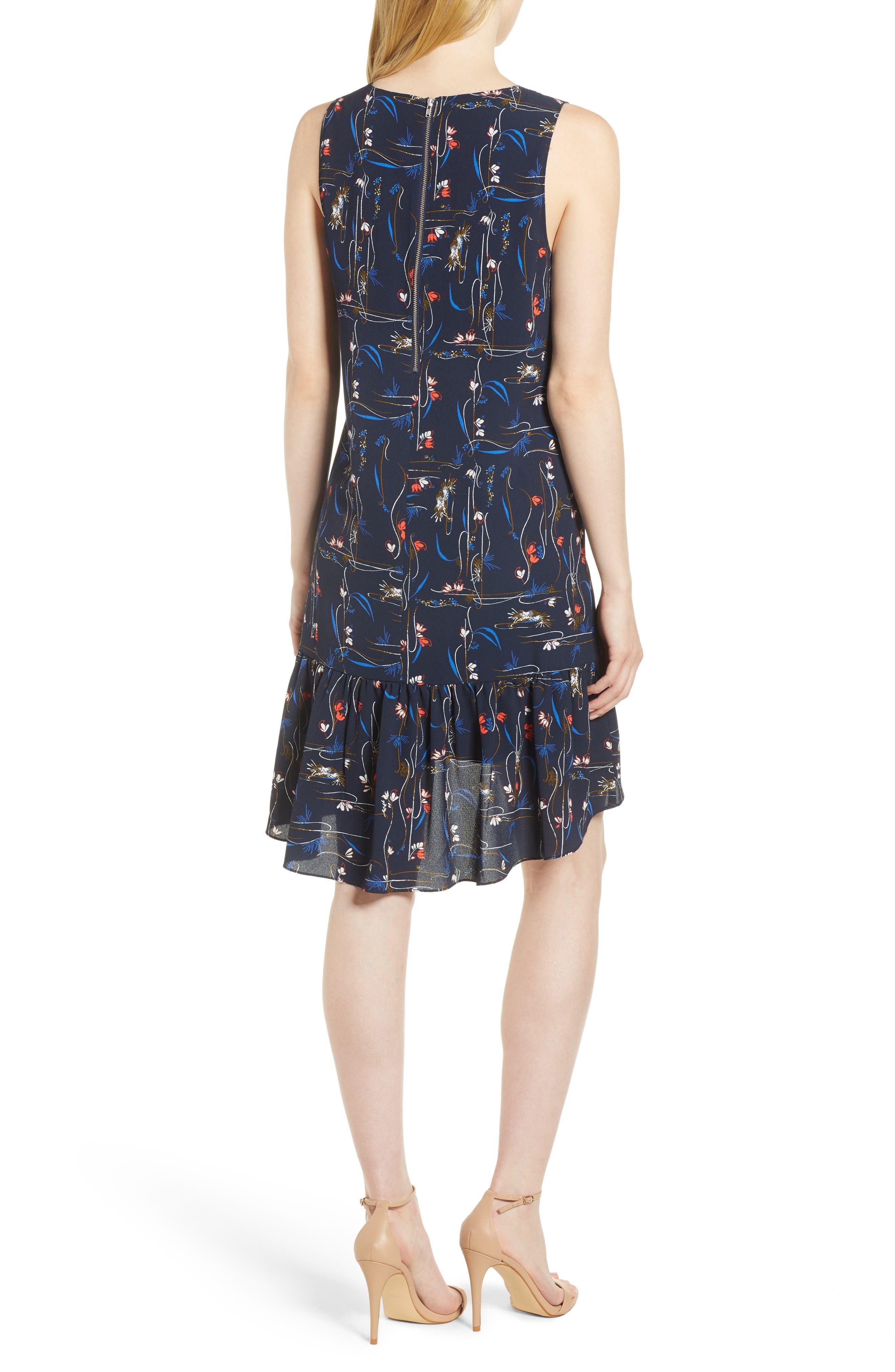 Zipper Back Ruffle Dress,                             Alternate thumbnail 2, color,                             Navy Iris Garden Flow