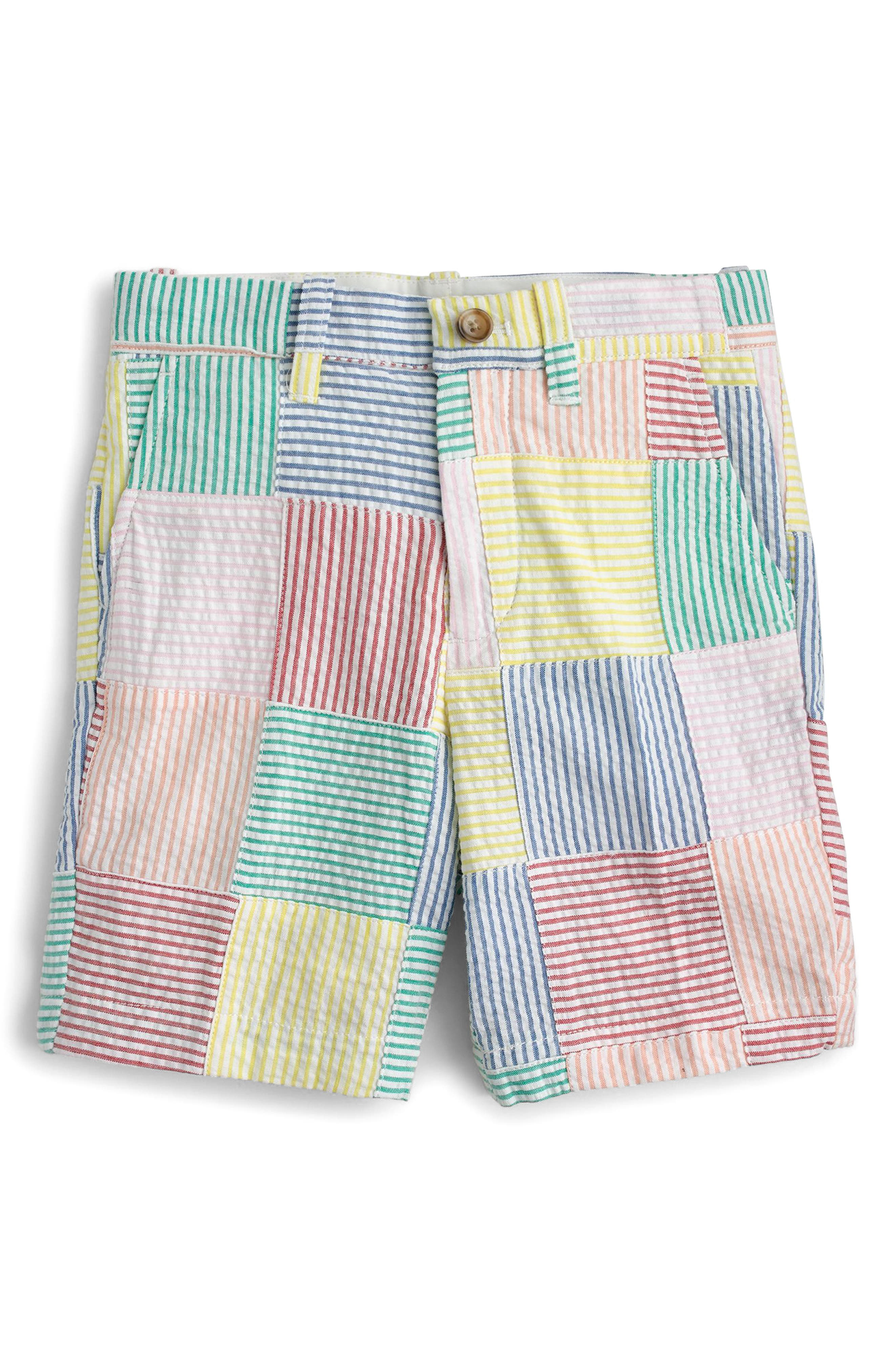 Crewcuts Stanton Patchwork Shorts,                             Main thumbnail 1, color,                             Ivory Multi