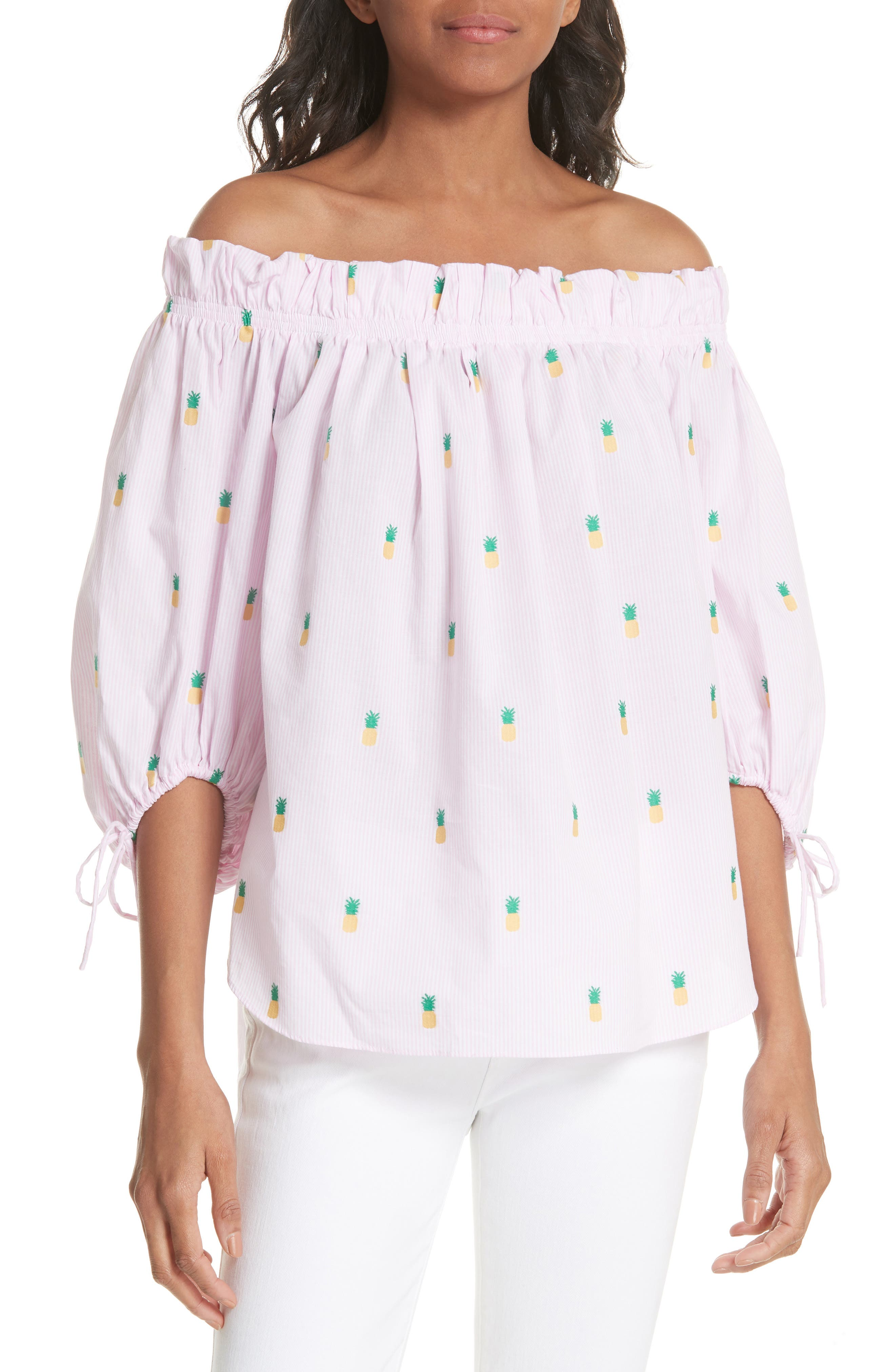 kate spade new york pineapple pinstripe off the shoulder cotton top