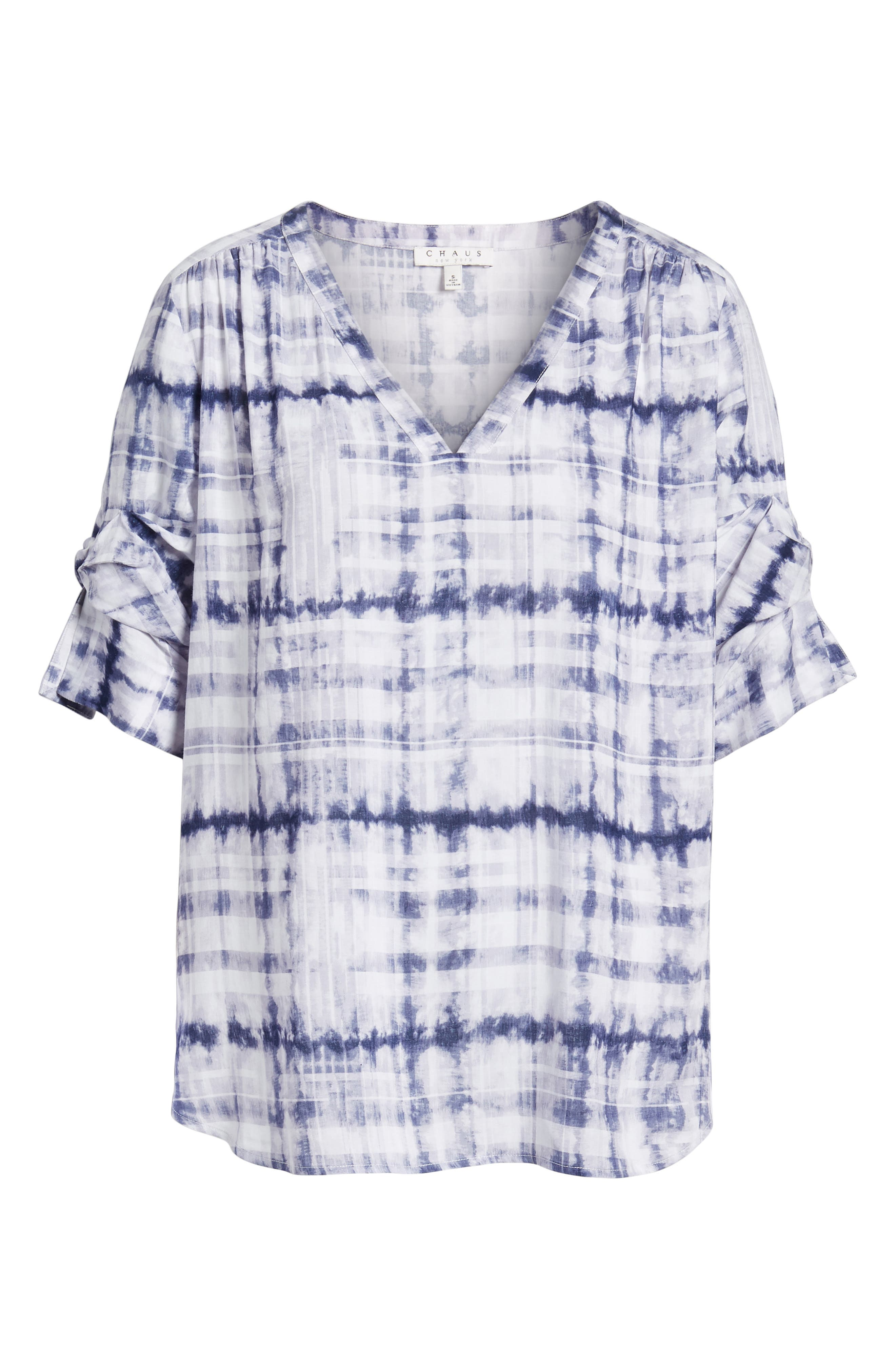 Shibori Plaid Gathered Sleeve Top,                             Alternate thumbnail 7, color,                             Evening Navy