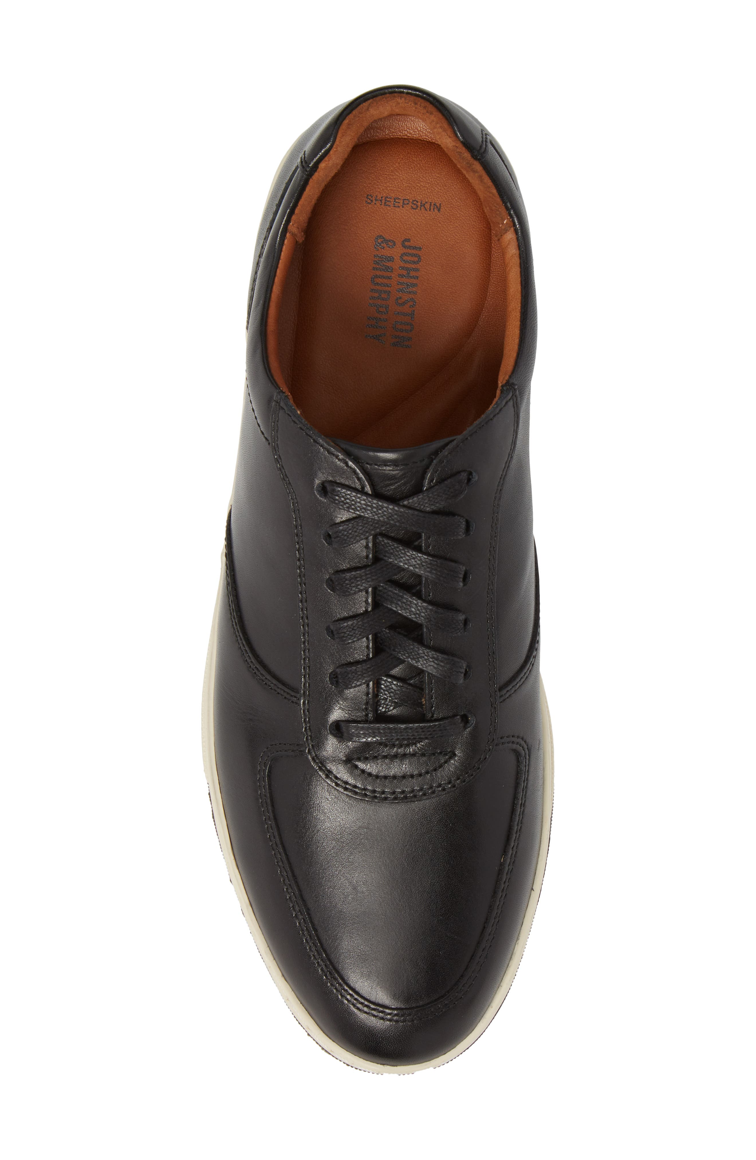 Fenton Low Top Sneaker,                             Alternate thumbnail 5, color,                             Black Leather