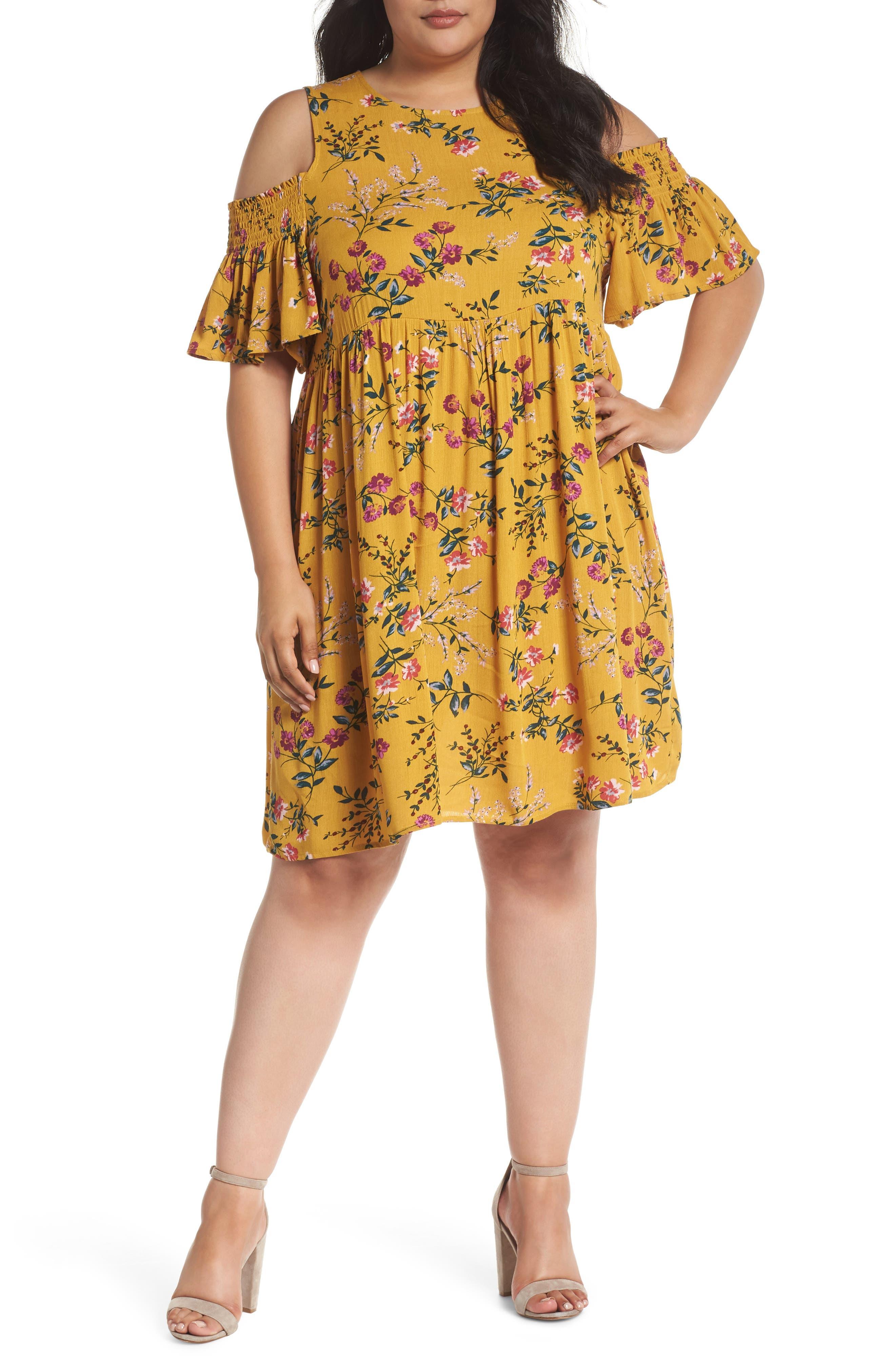 Floral Smocked Cold Shoulder Dress,                             Main thumbnail 1, color,                             Mustard Multi Floral