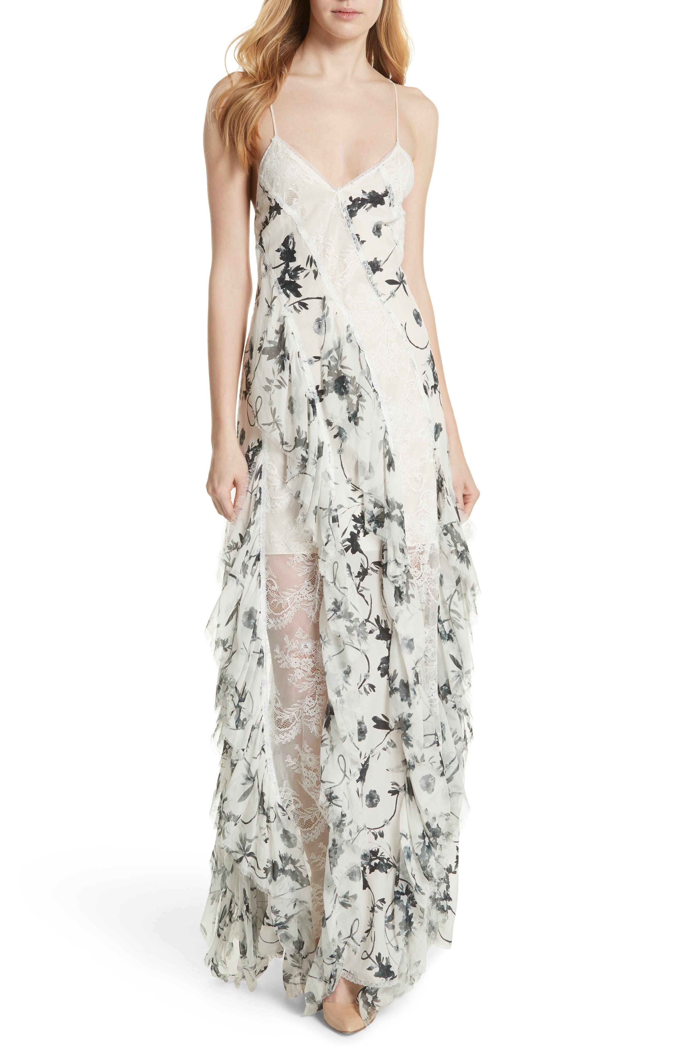 Jayda Godet Lace Inset Silk Maxi Dress,                         Main,                         color, Floral Crown